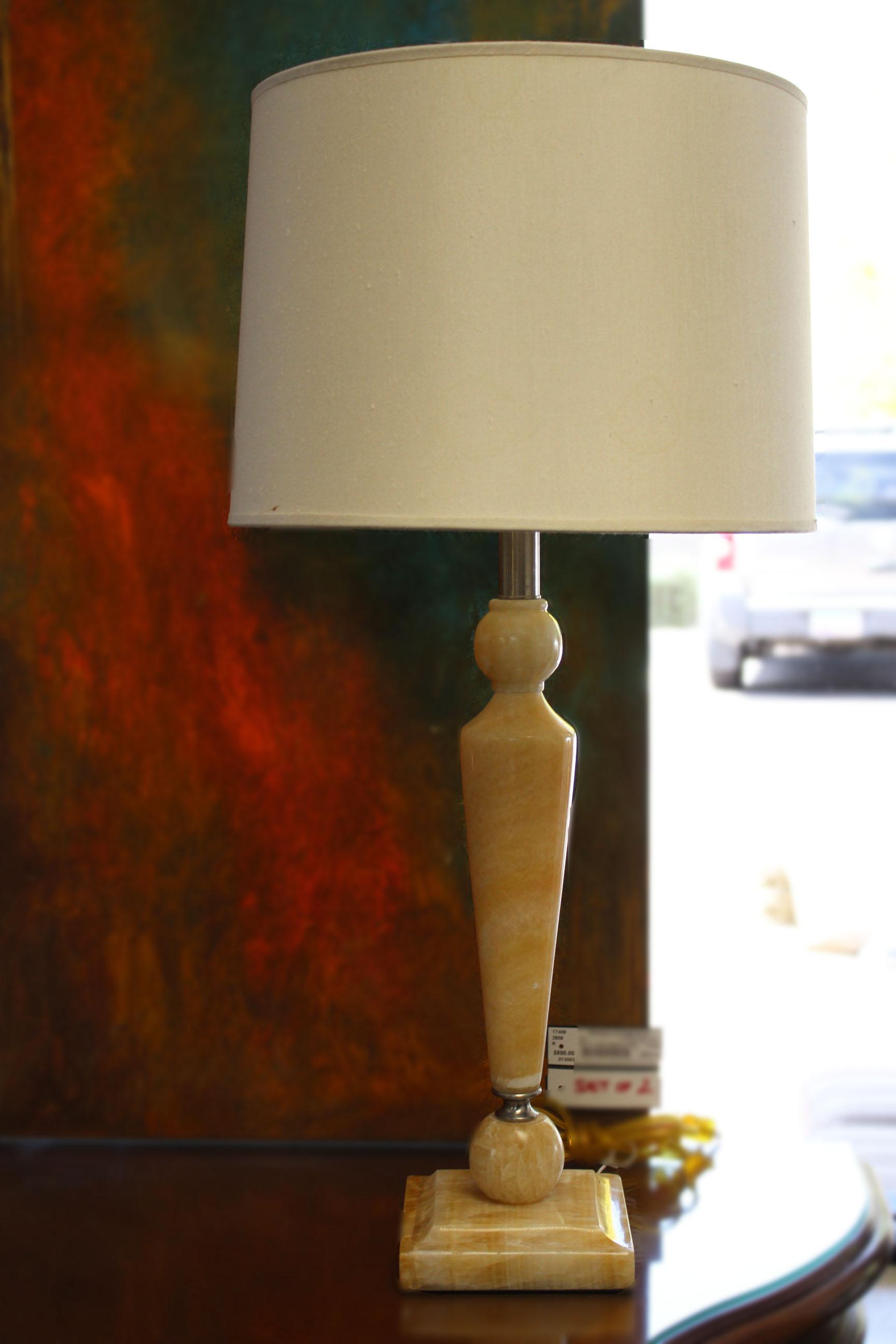 Pair of Tan Marble Lamps