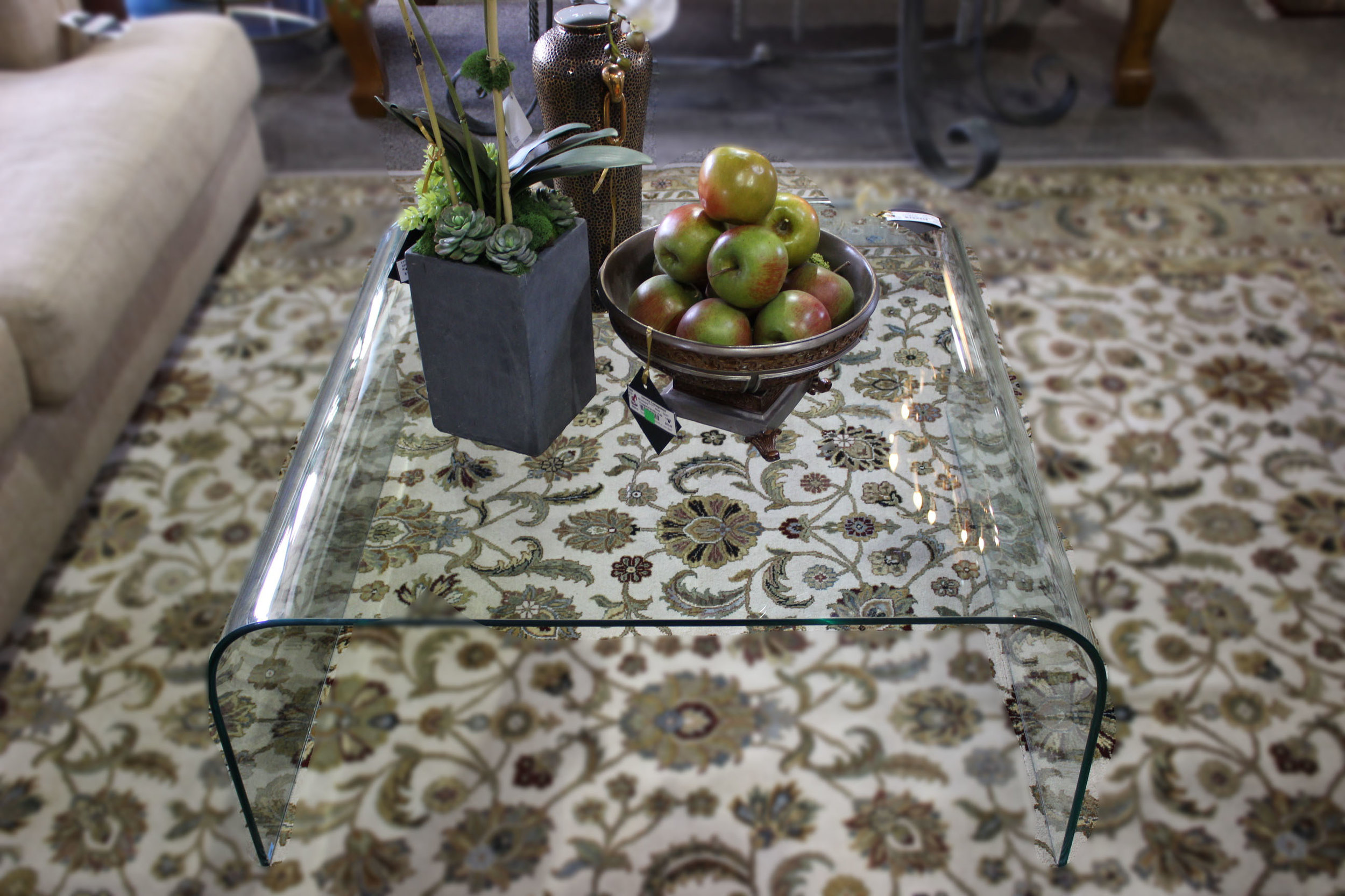 Euro Bent Glass Cocktail Table