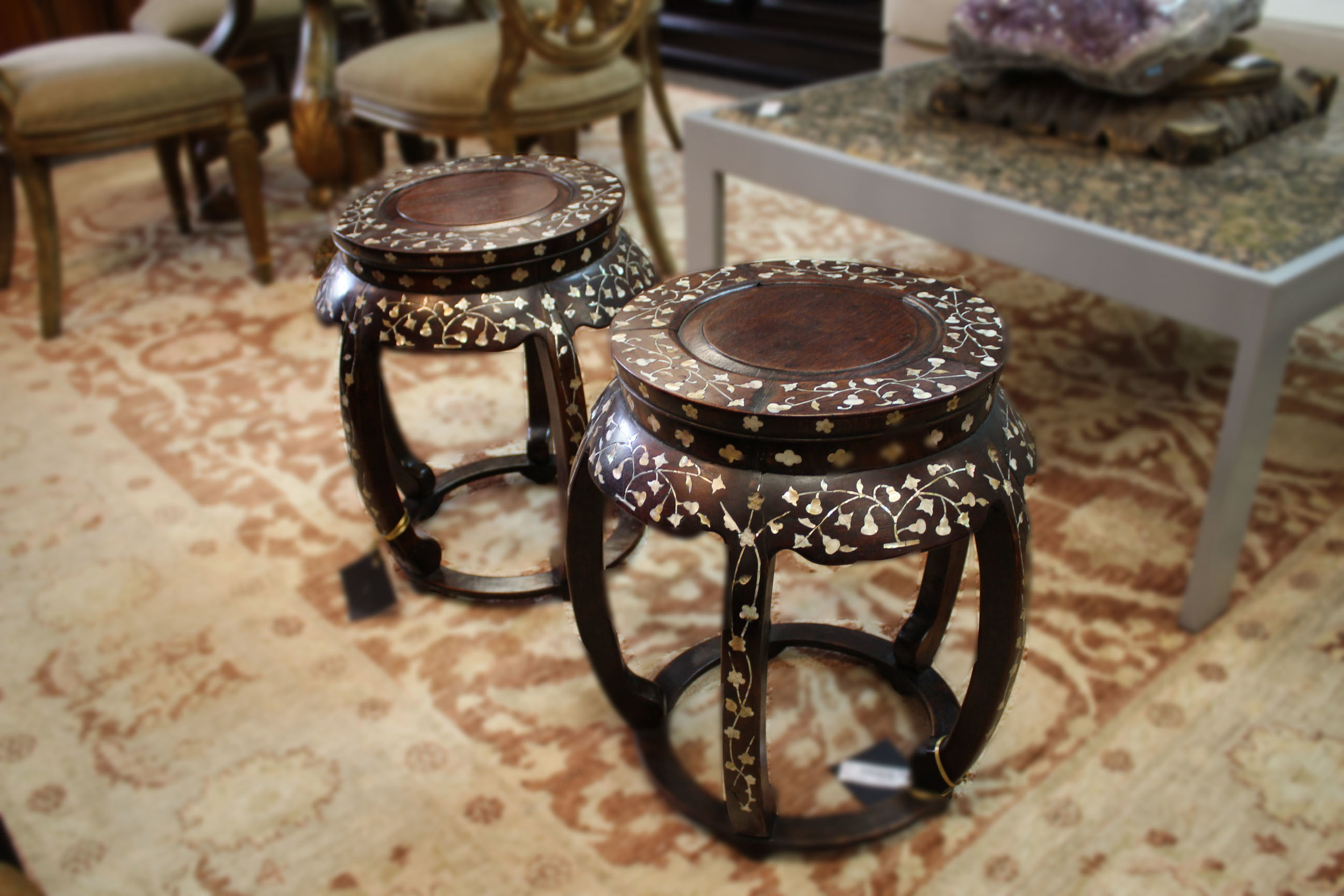 Mother of Pearl Pair of Garden Stools