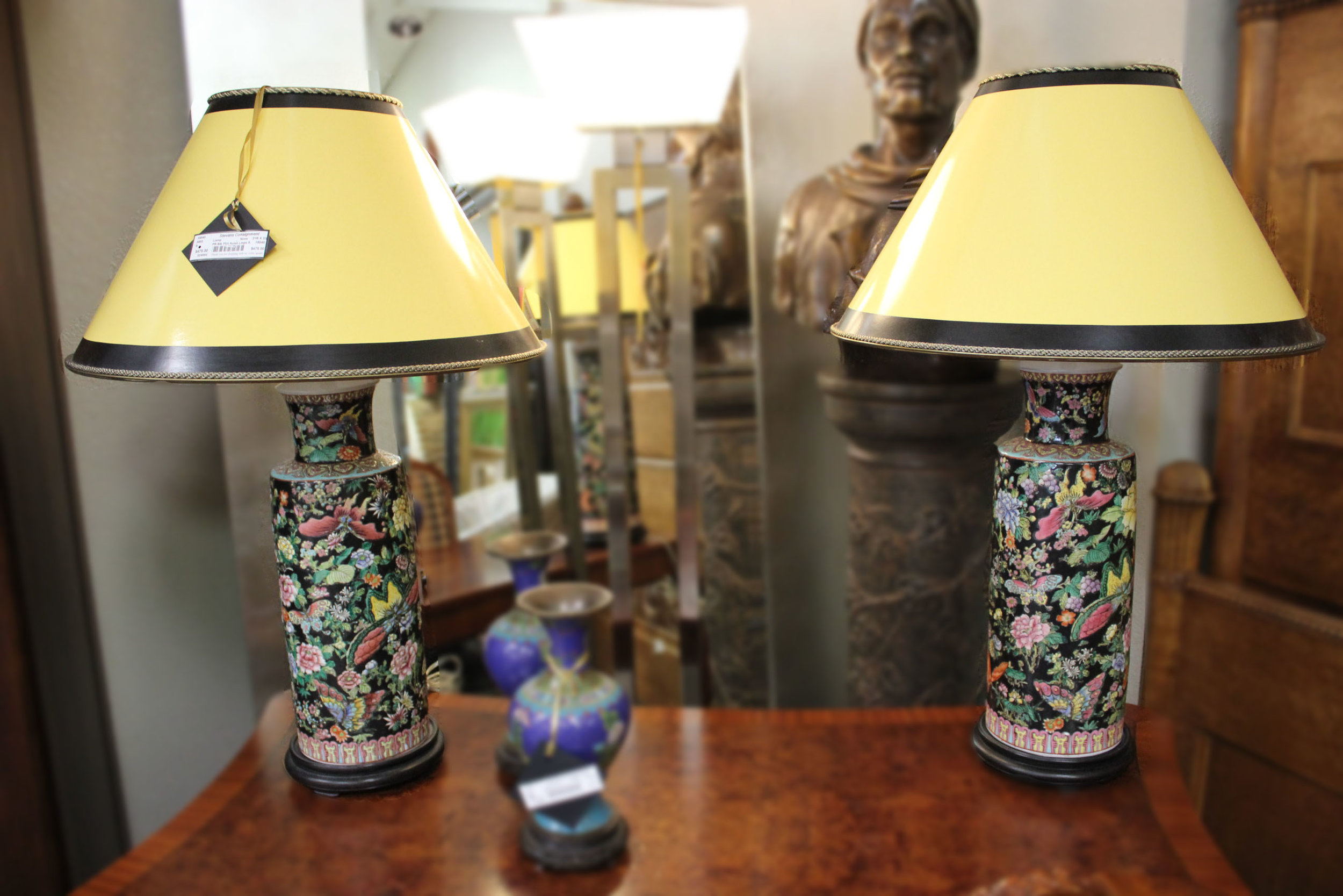 Pair of Black Floral Asian Lamps
