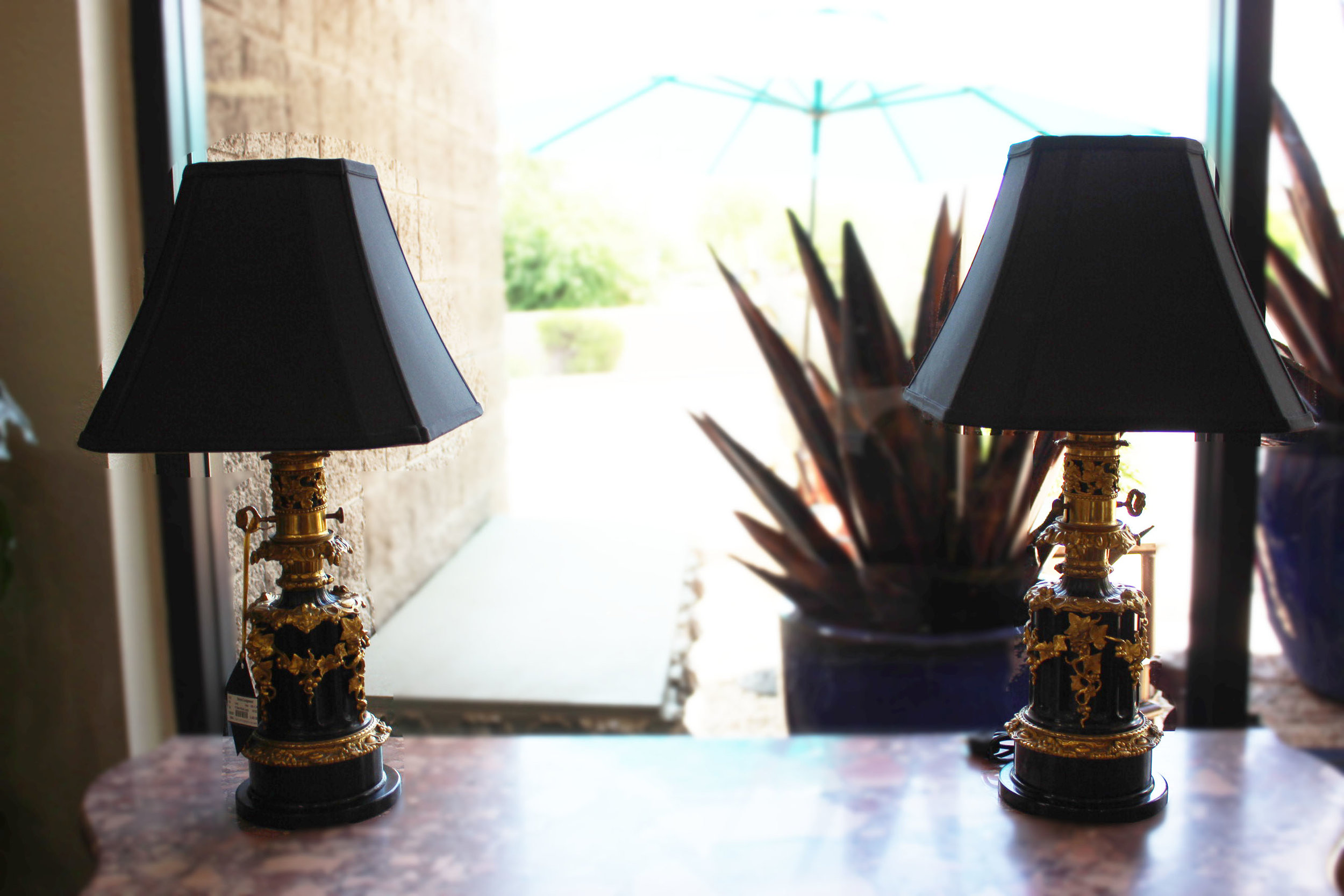 Pair of Black Ormolu Lamps