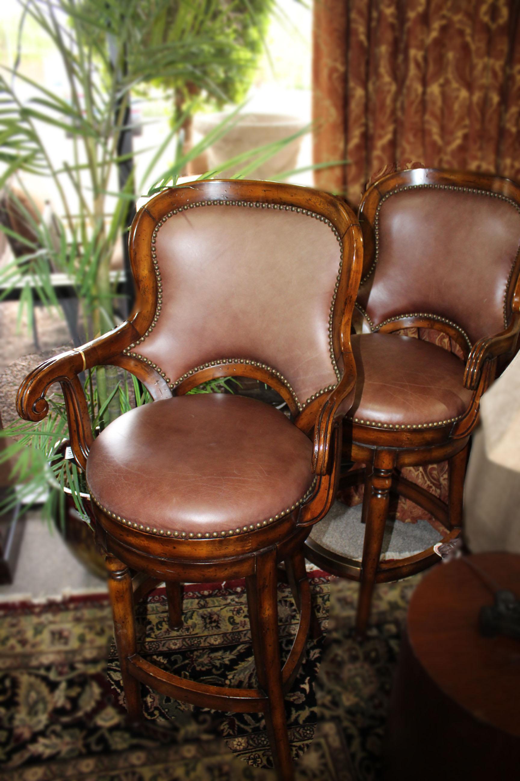 Pair of Leather Nailhead Barstools