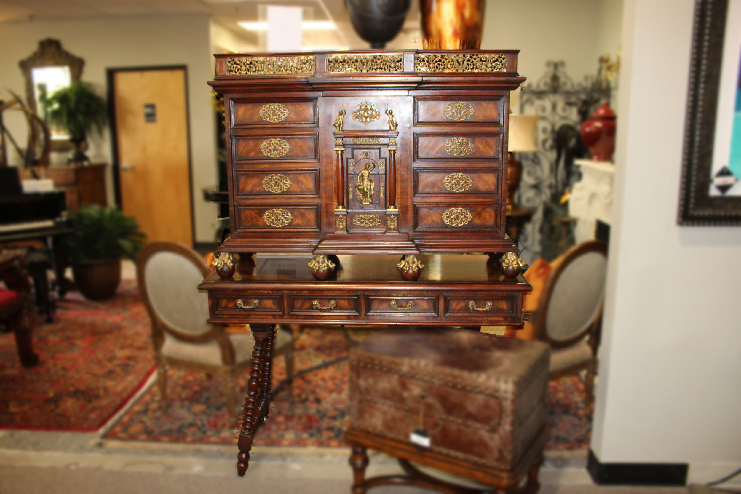 Theodore Alexander Renaissance Inspired Curiosity Cabinet on Stand from the Althorp Collection