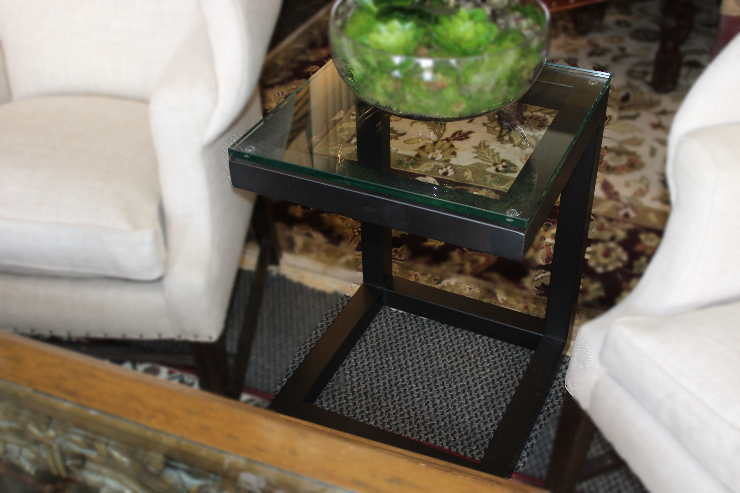 C Frame Glass Top Metal End Table