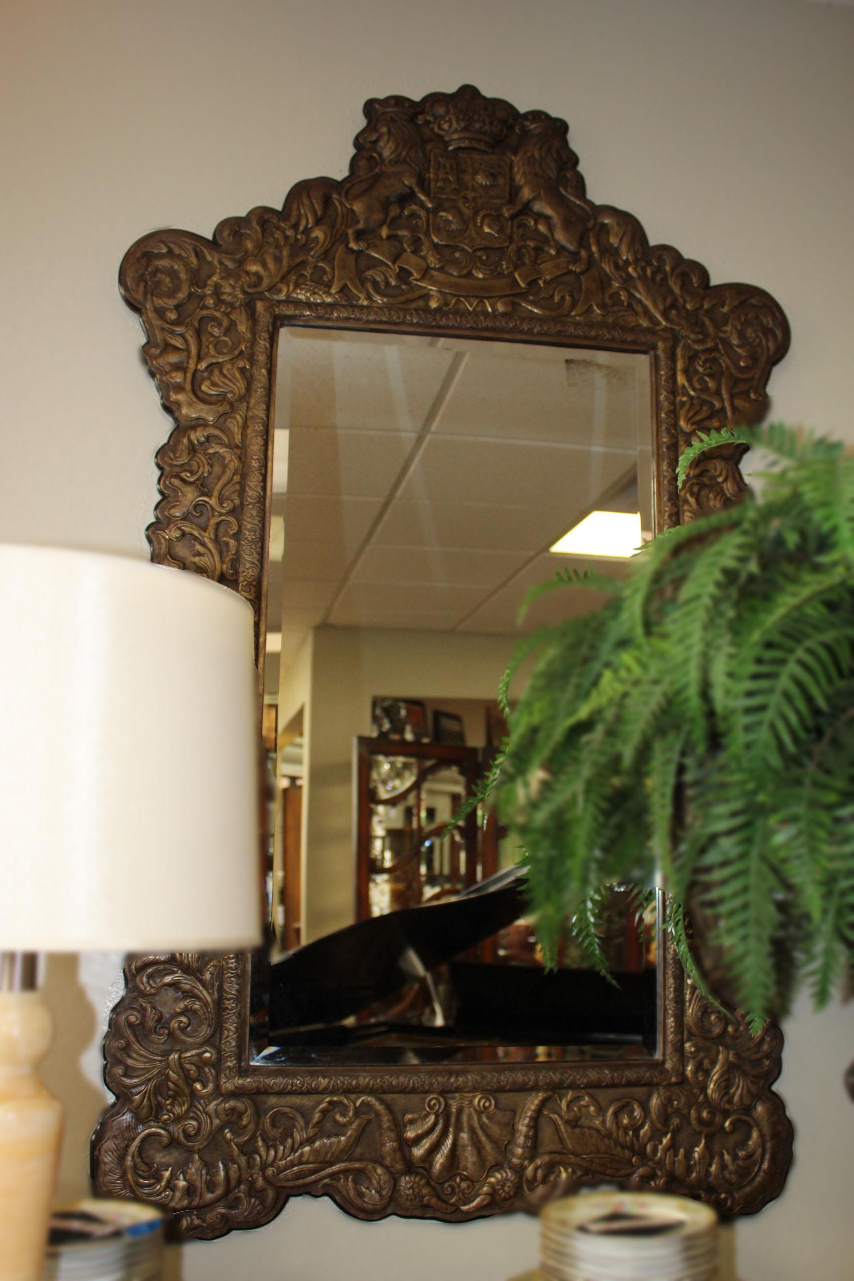 Theodore Alexander Metal Lion Framed Mirror