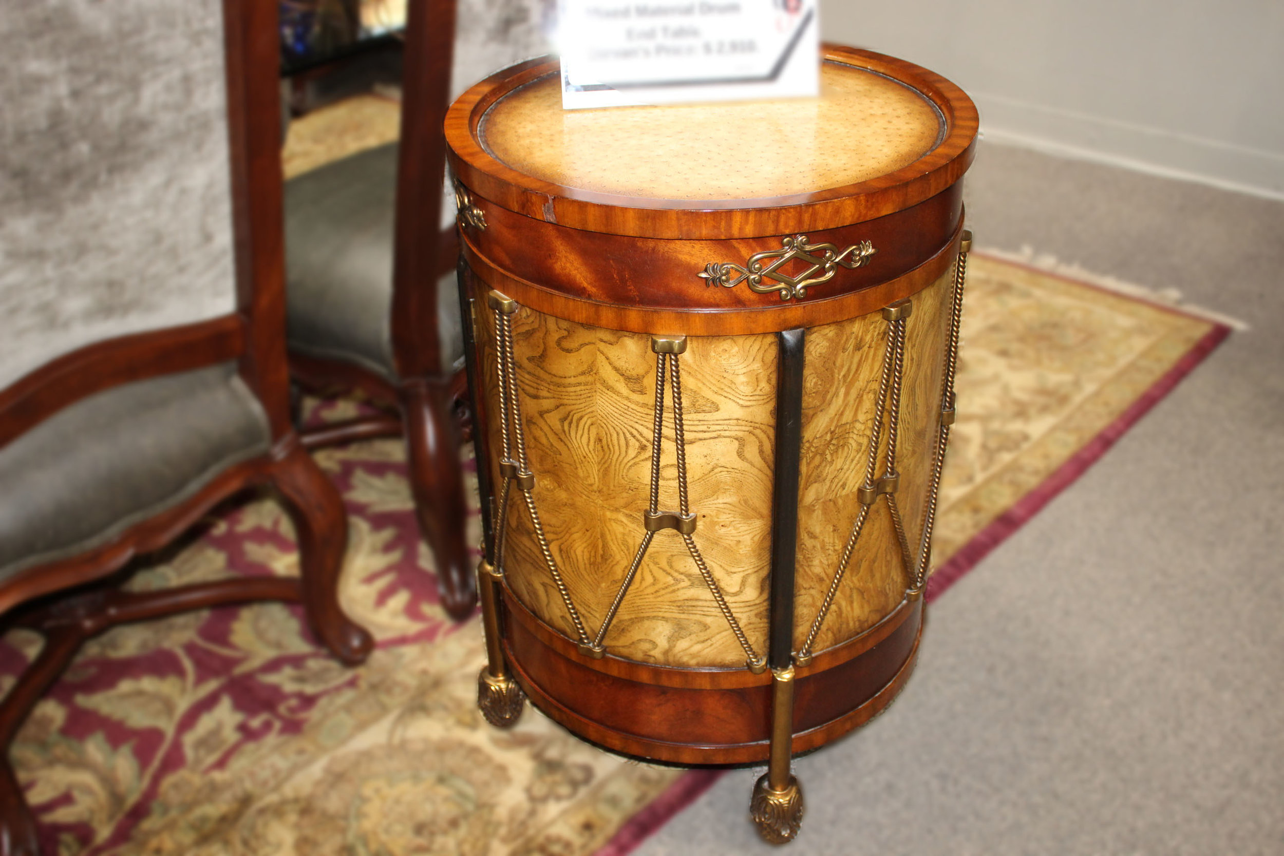Theodore Alexander Wood & Brass Drum End Table