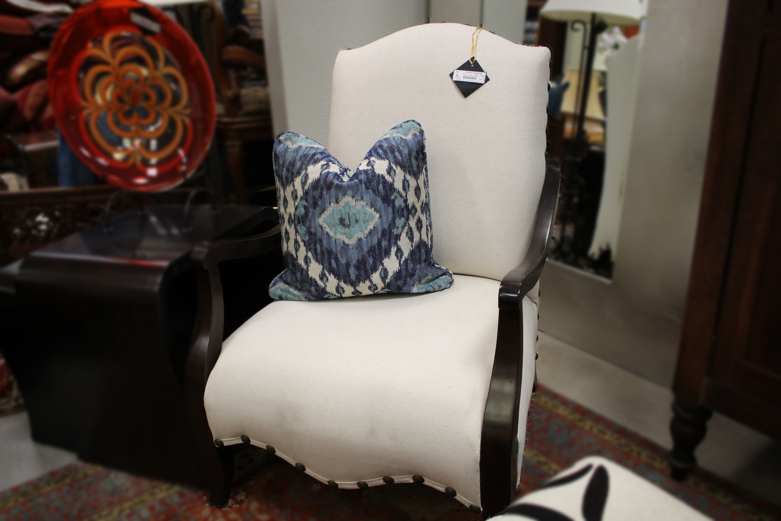 Oatmeal Linen Arm Chair with Nailheads