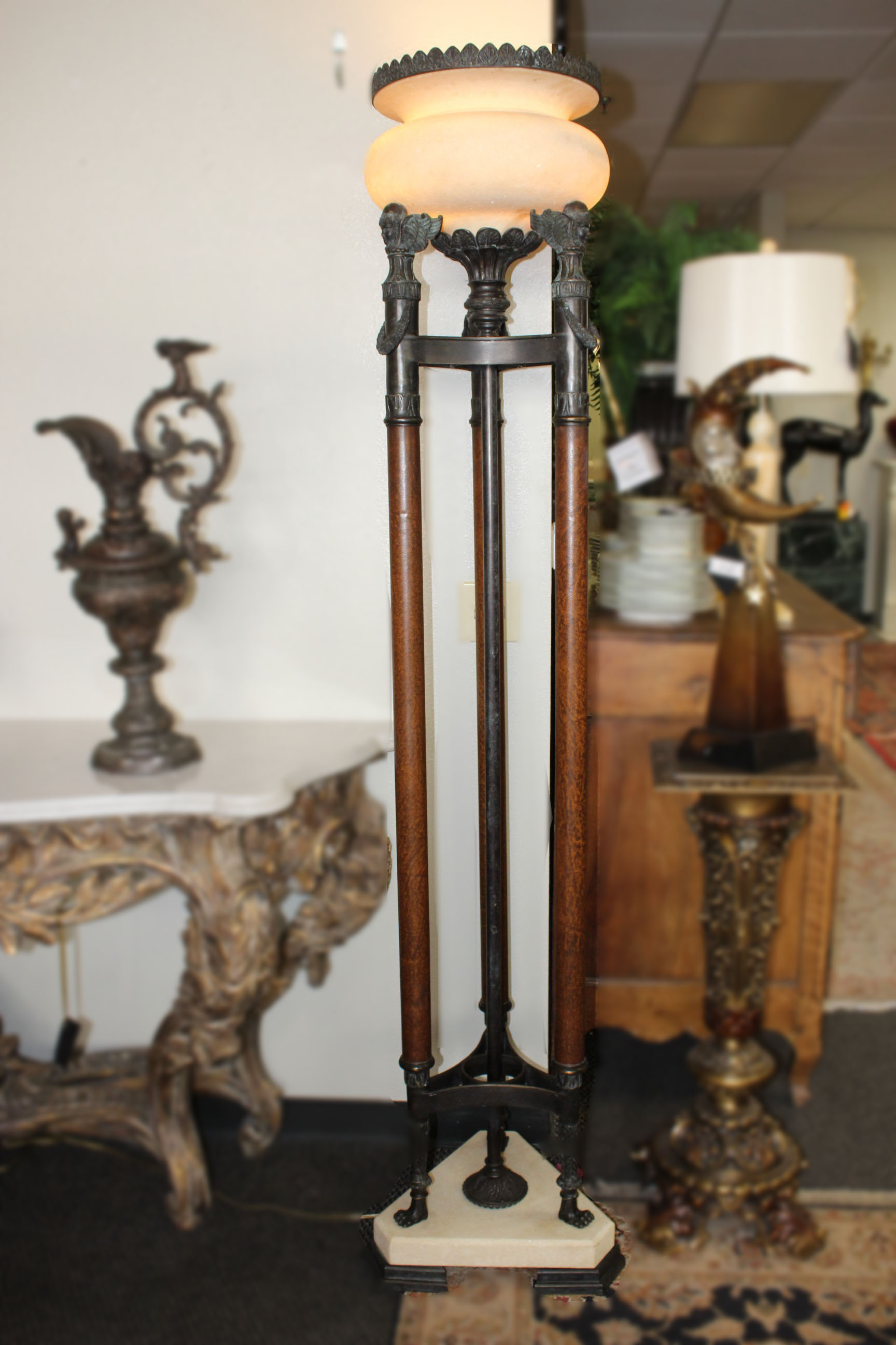 Theodore Alexander Pair of Bronze Stone Torchere Lamps