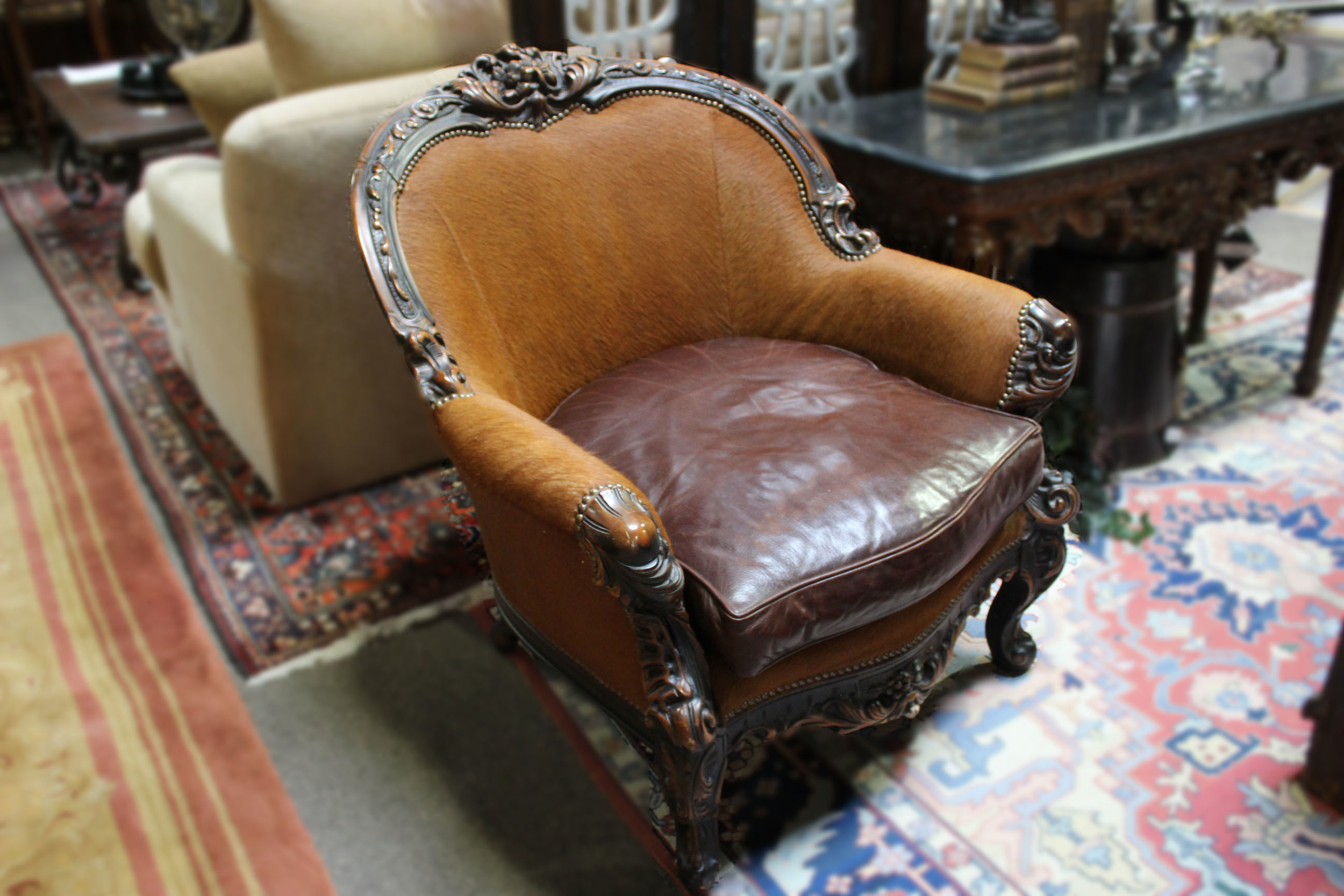 Old Hickory Tannery Brown Cowhide Chair