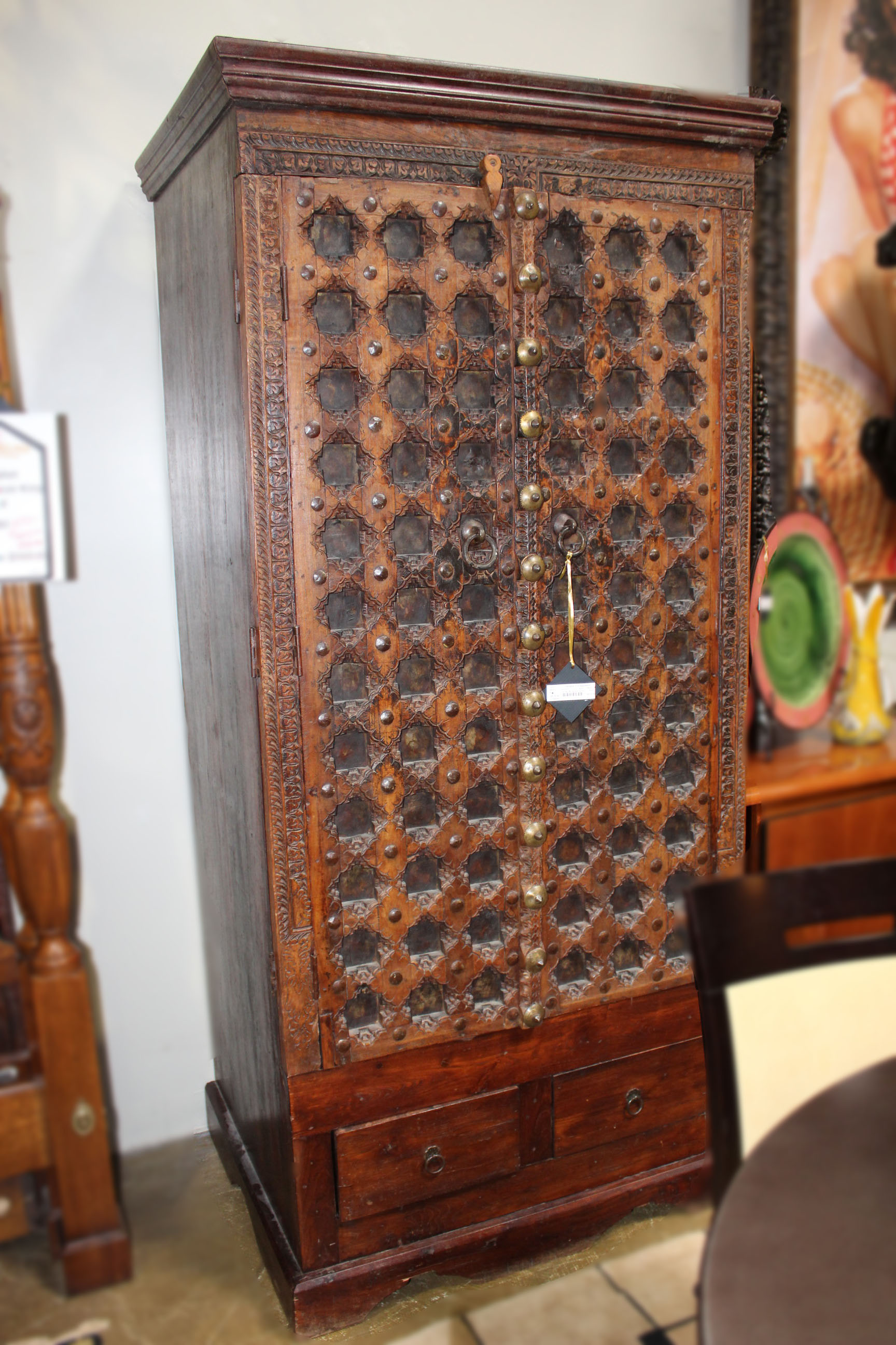Carved Wood & Iron Armoire