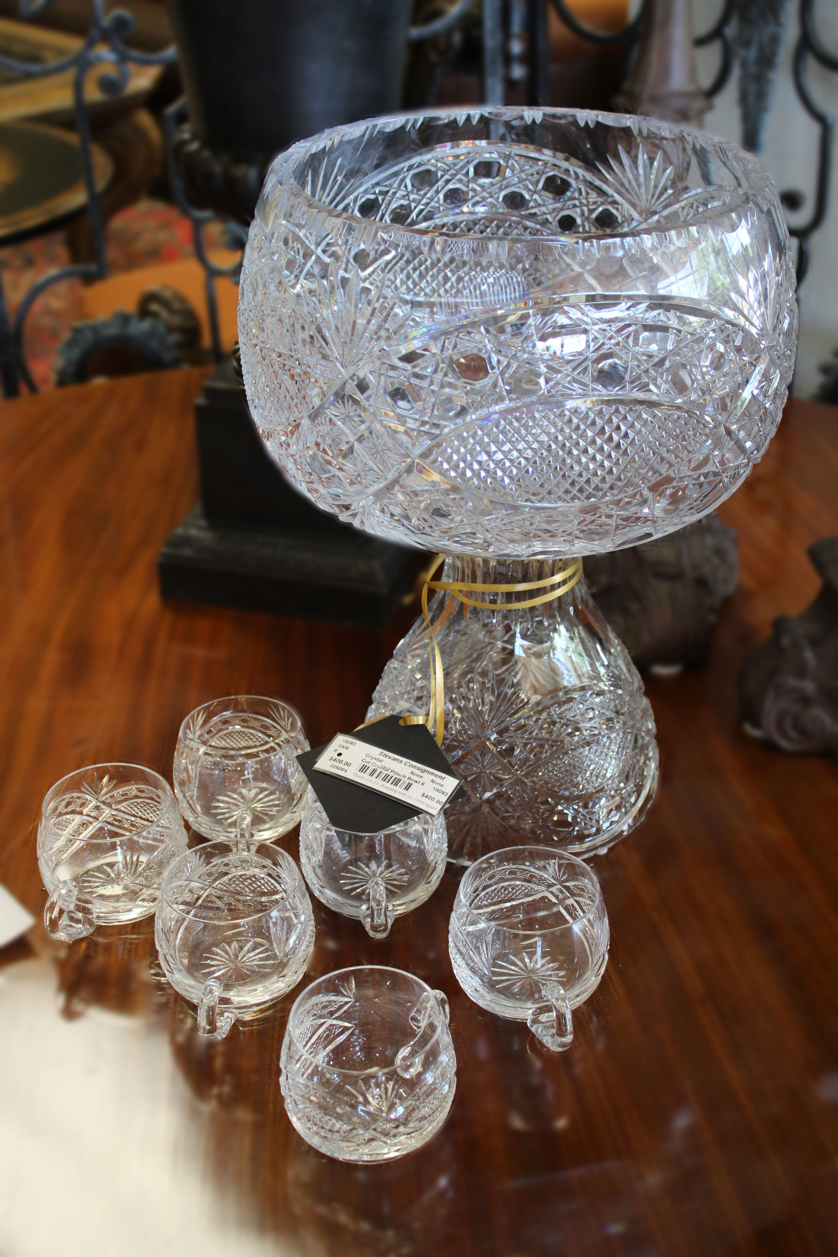 Cut Crystal Punch Bowl with 6 Cups
