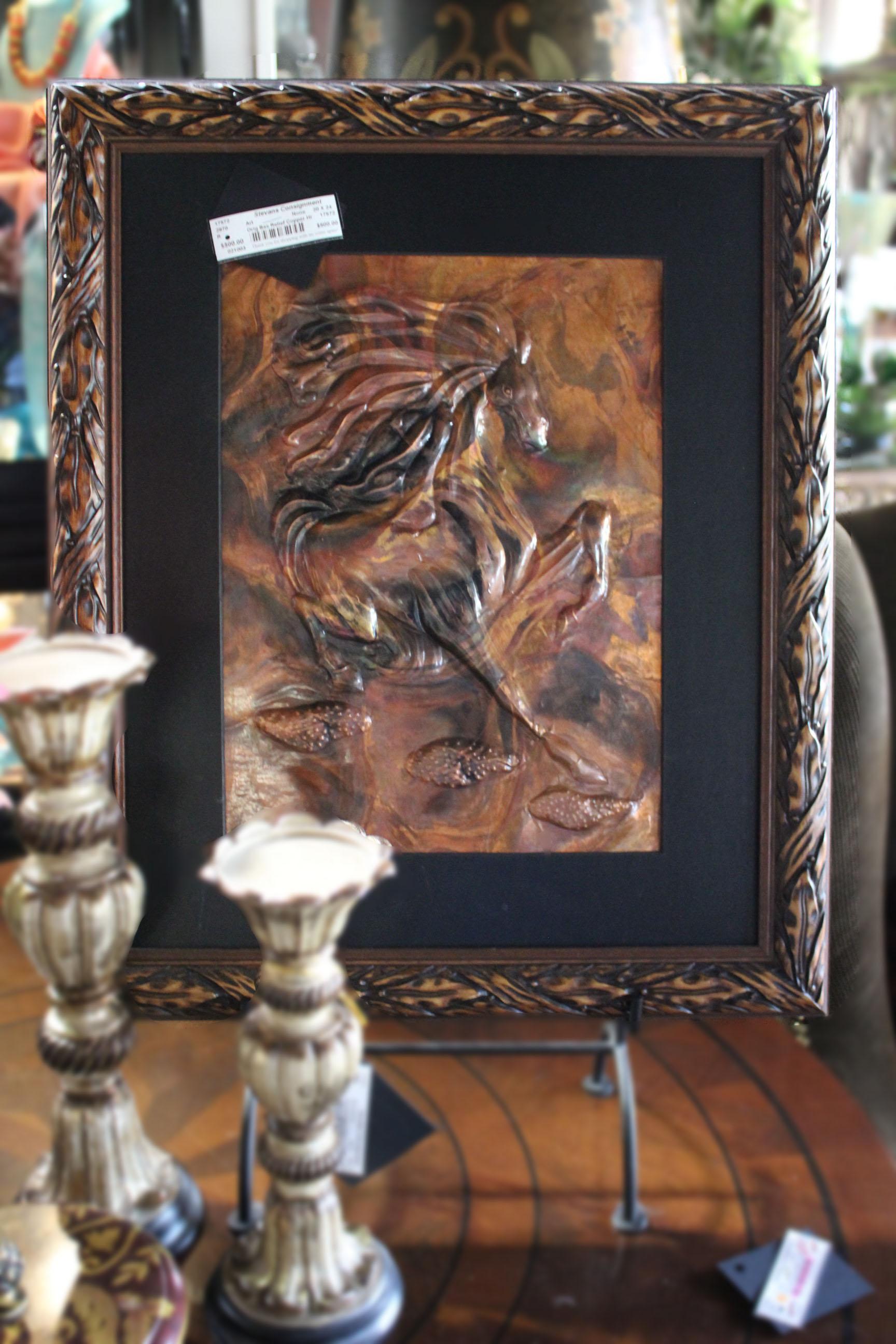 Original Bas Relief Copper Horse