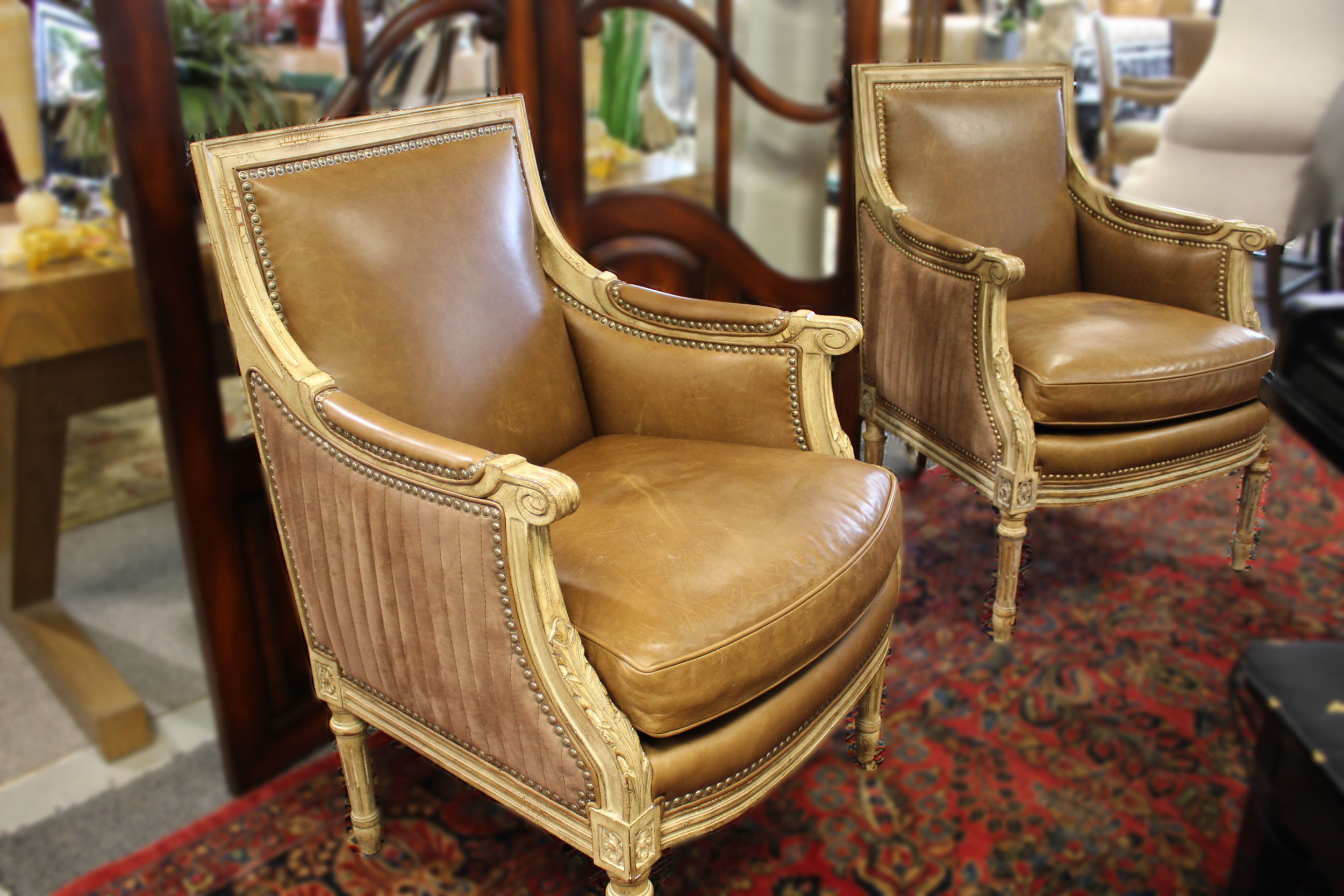Hancock & Moore Pair of Channel Tuft Leather Carved Arm Chairs