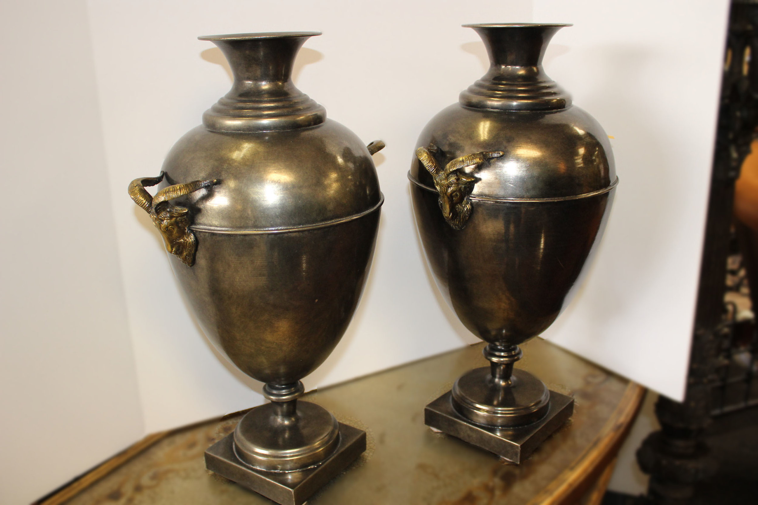 Maitland Smith Pair of Metal Urns with Rams Heads