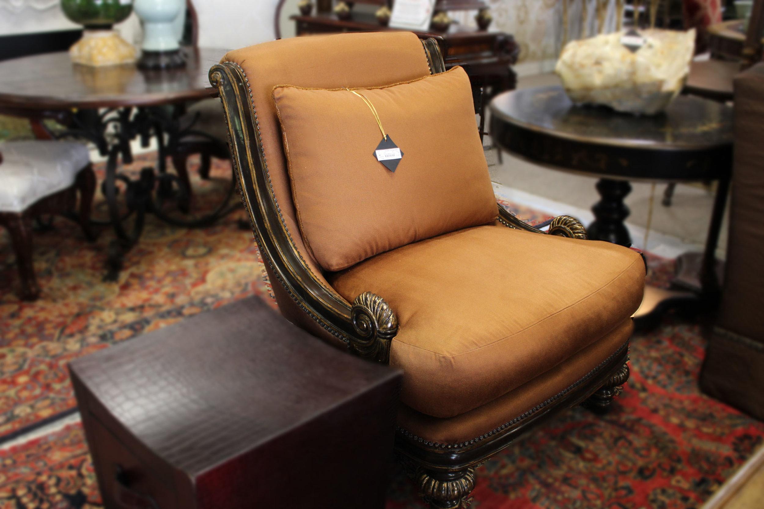 Marge Carson Rust Silk Arm Chairs