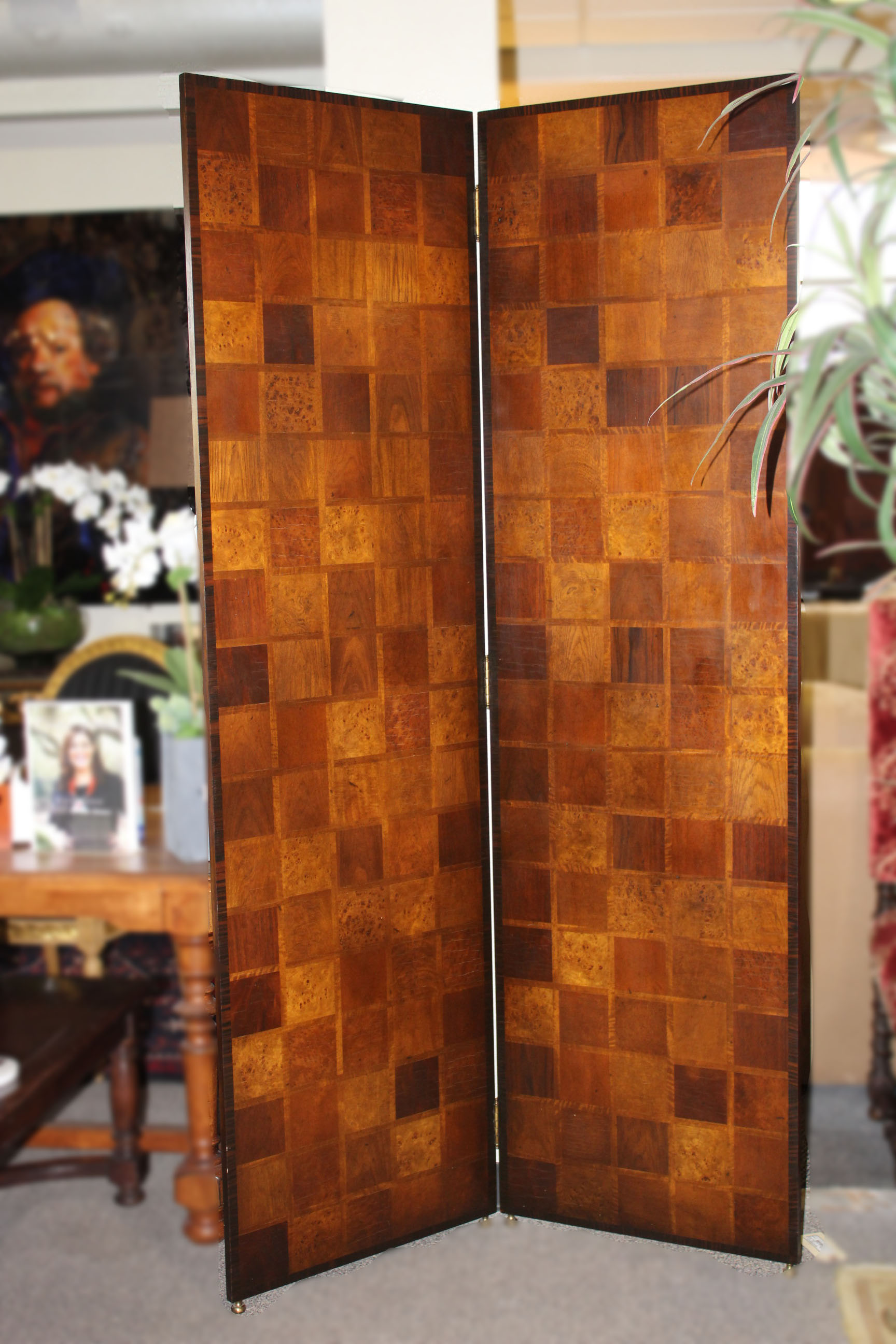 Theodore Alexander 2 Panel Burl Wood Screen