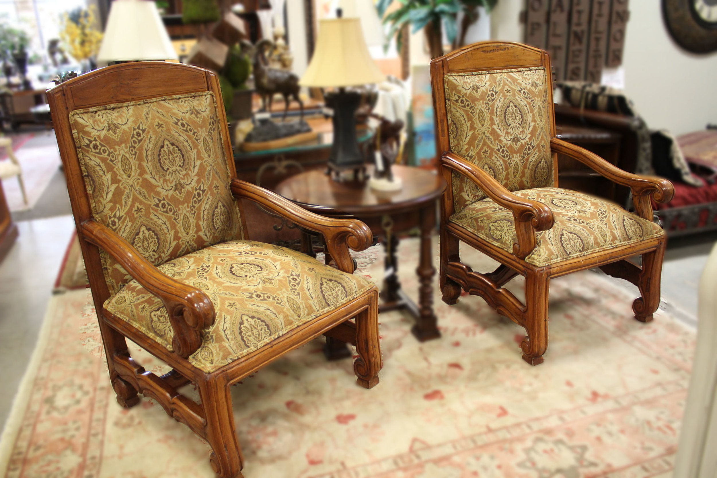 Pair of Large Wood Arm Chairs