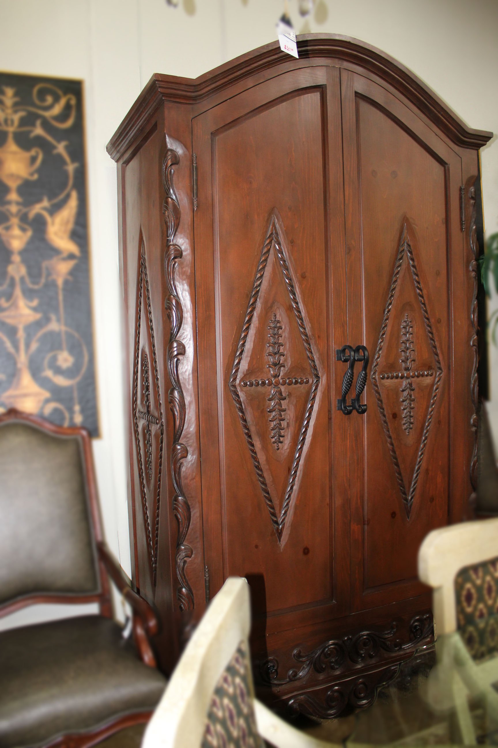 Rustic Western Carved Armoire