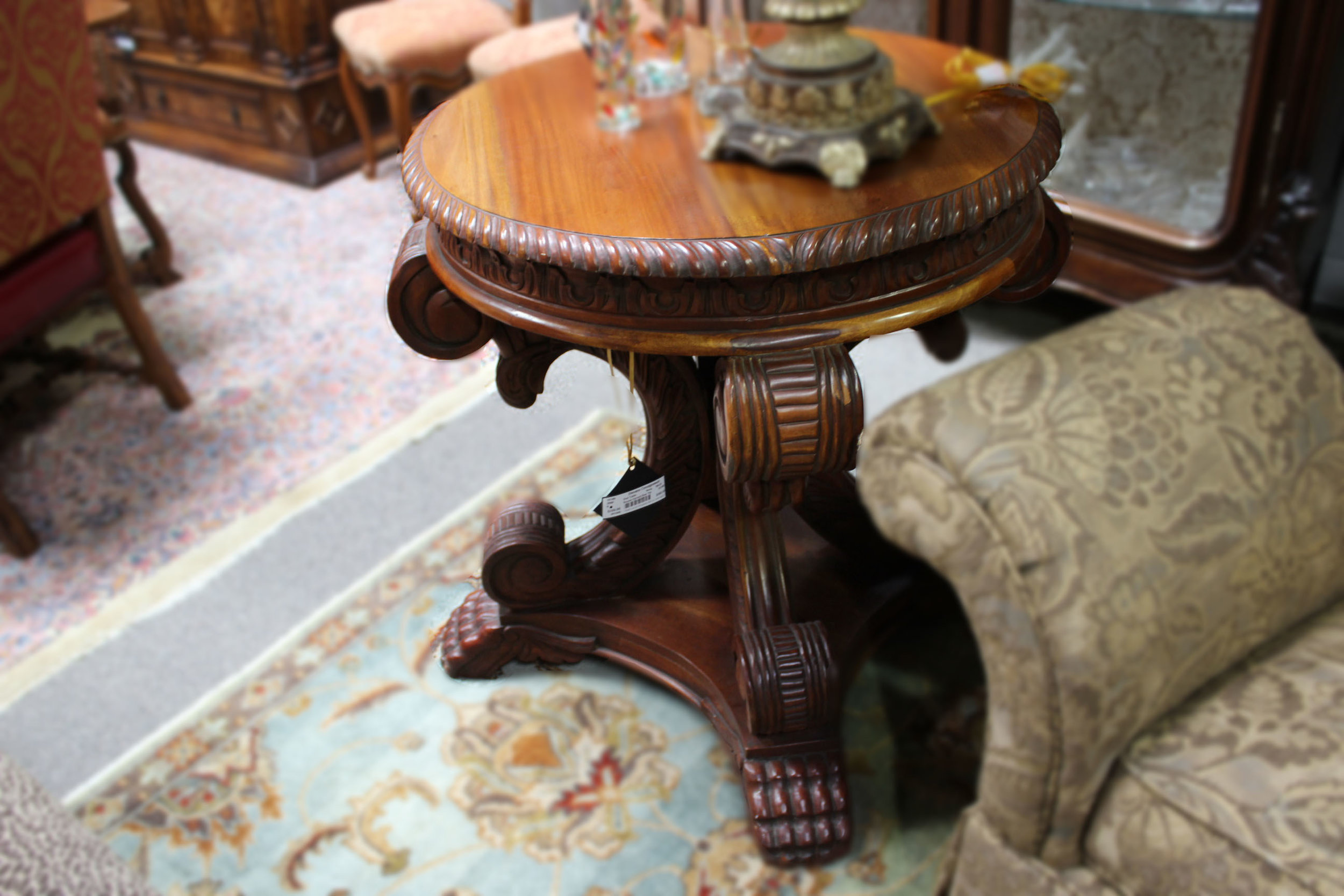 Round Carved End Table