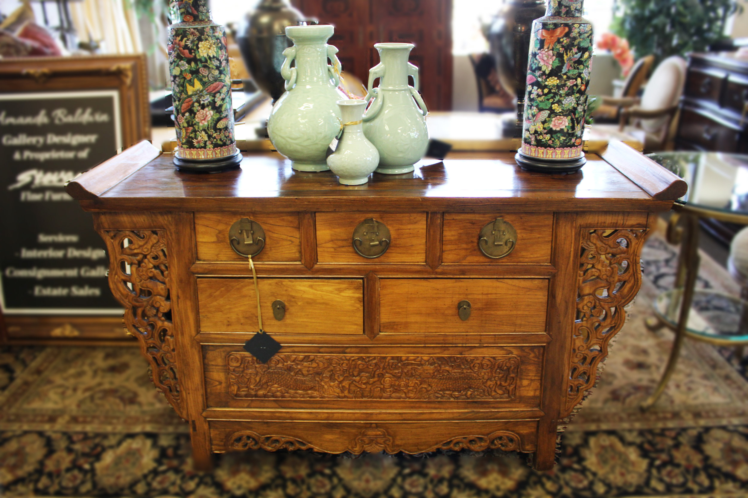 Carved Elm Chinese Console