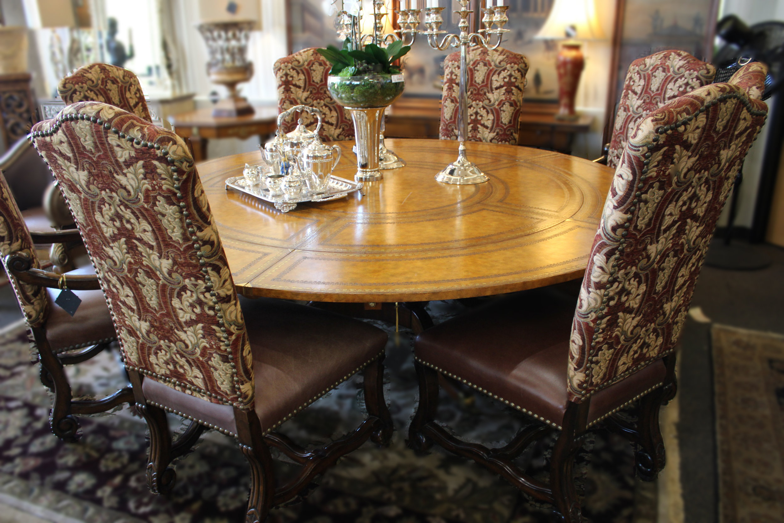 Set of 8 Leather & Fabric Spanish Colonial Dining Chairs