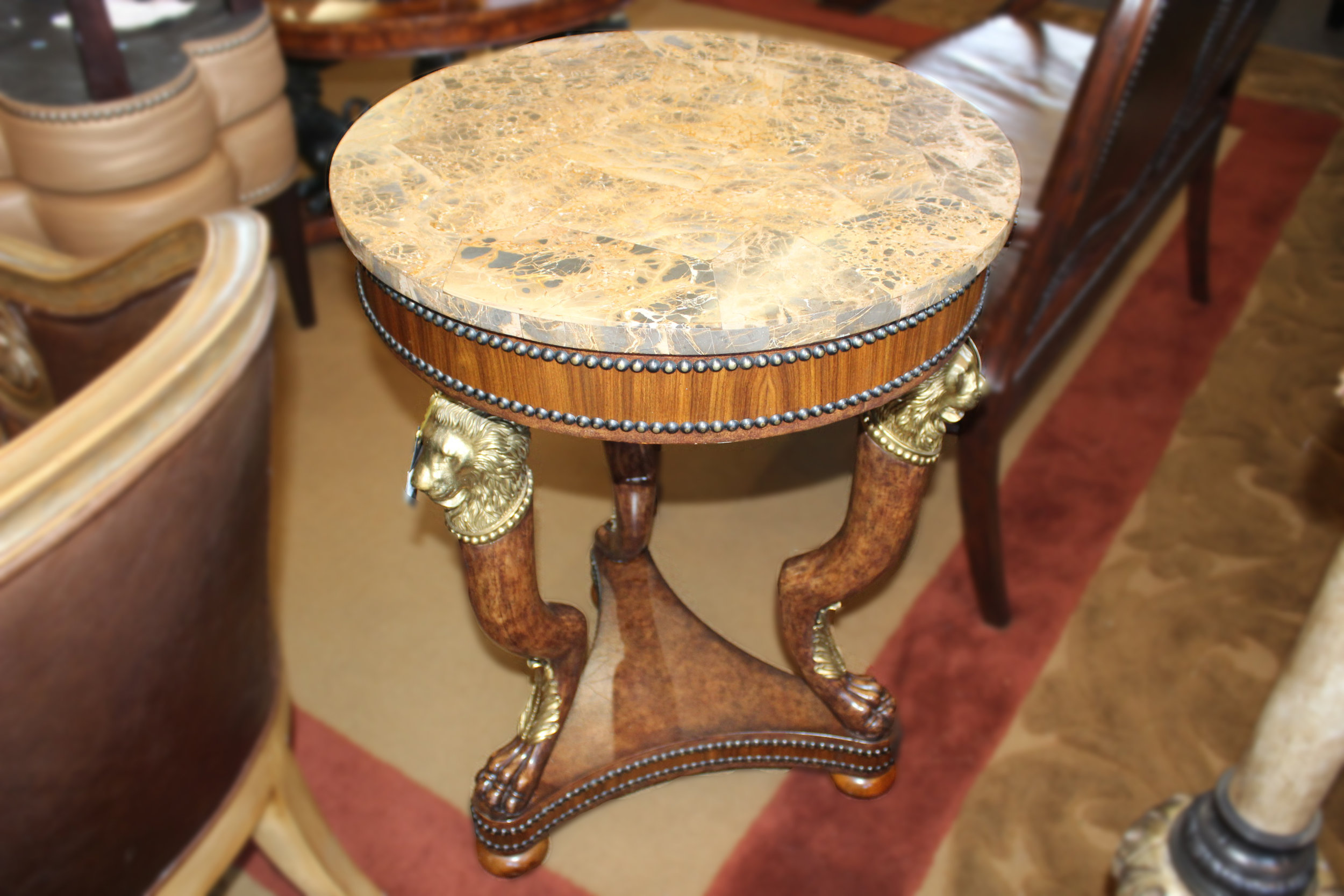 Maitland Smith Marble Top End Table with Brass Lions