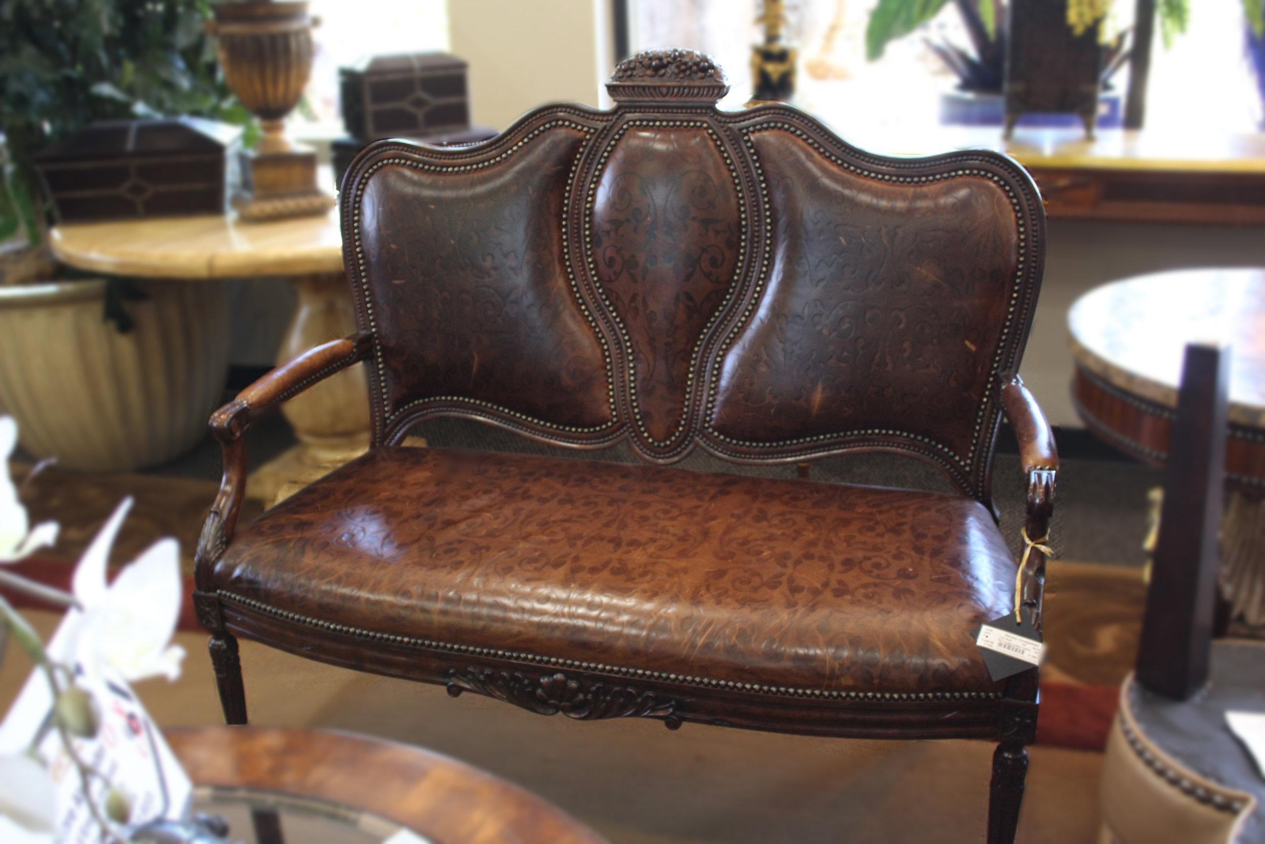 Maitland Smith Tooled Leather Settee