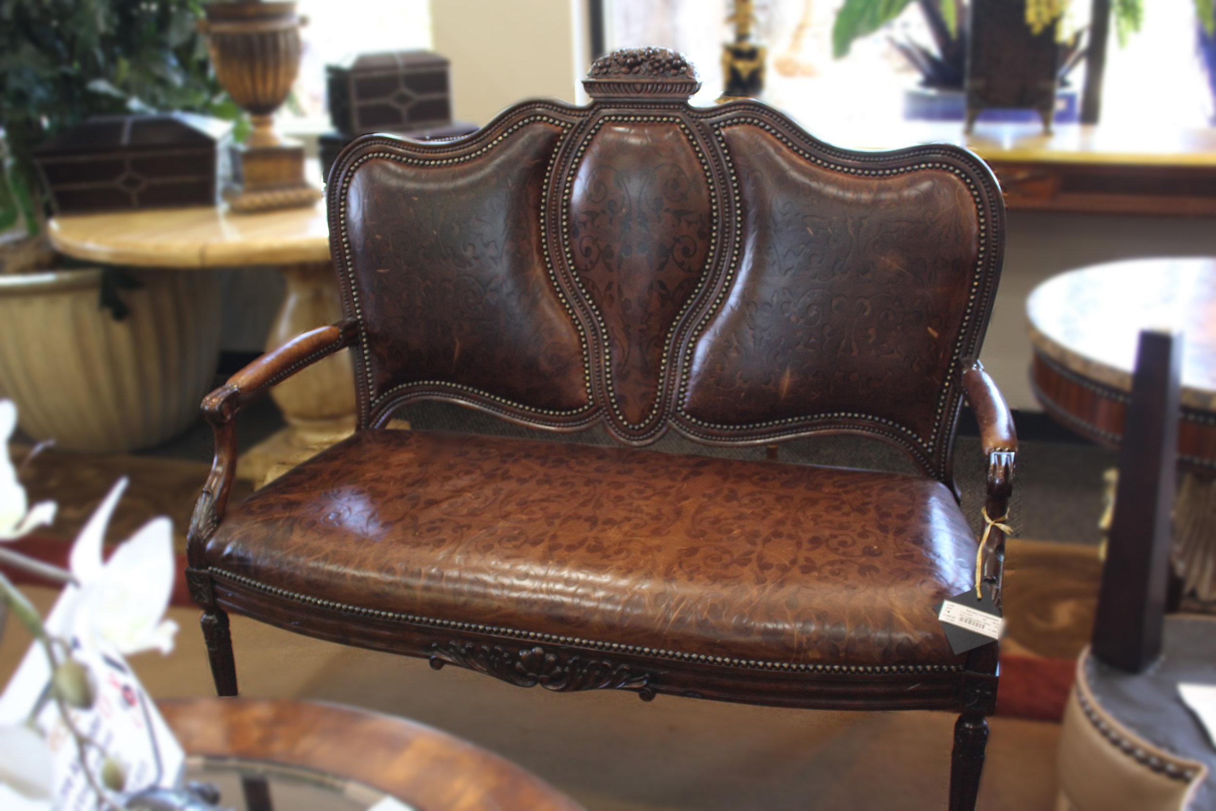 Maitland Smith Tooled Leather Settee