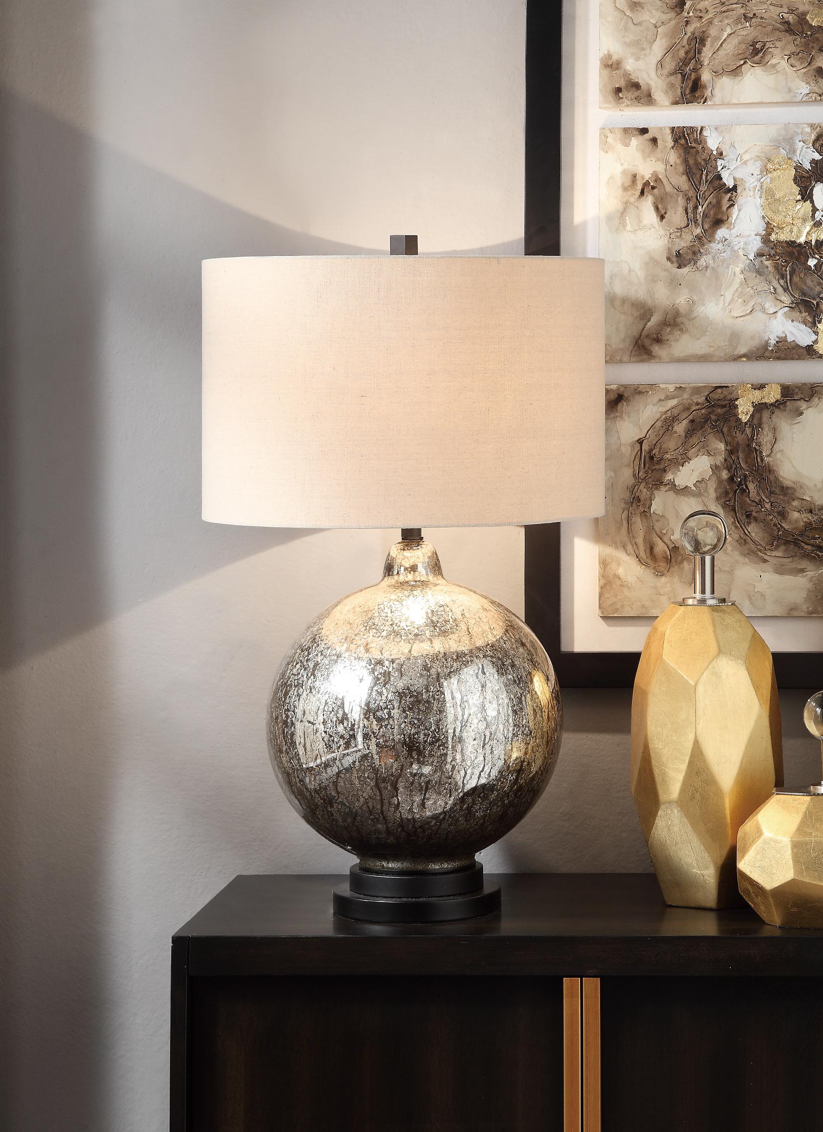 NEW Pair of Mottled Mercury Glass Lamps