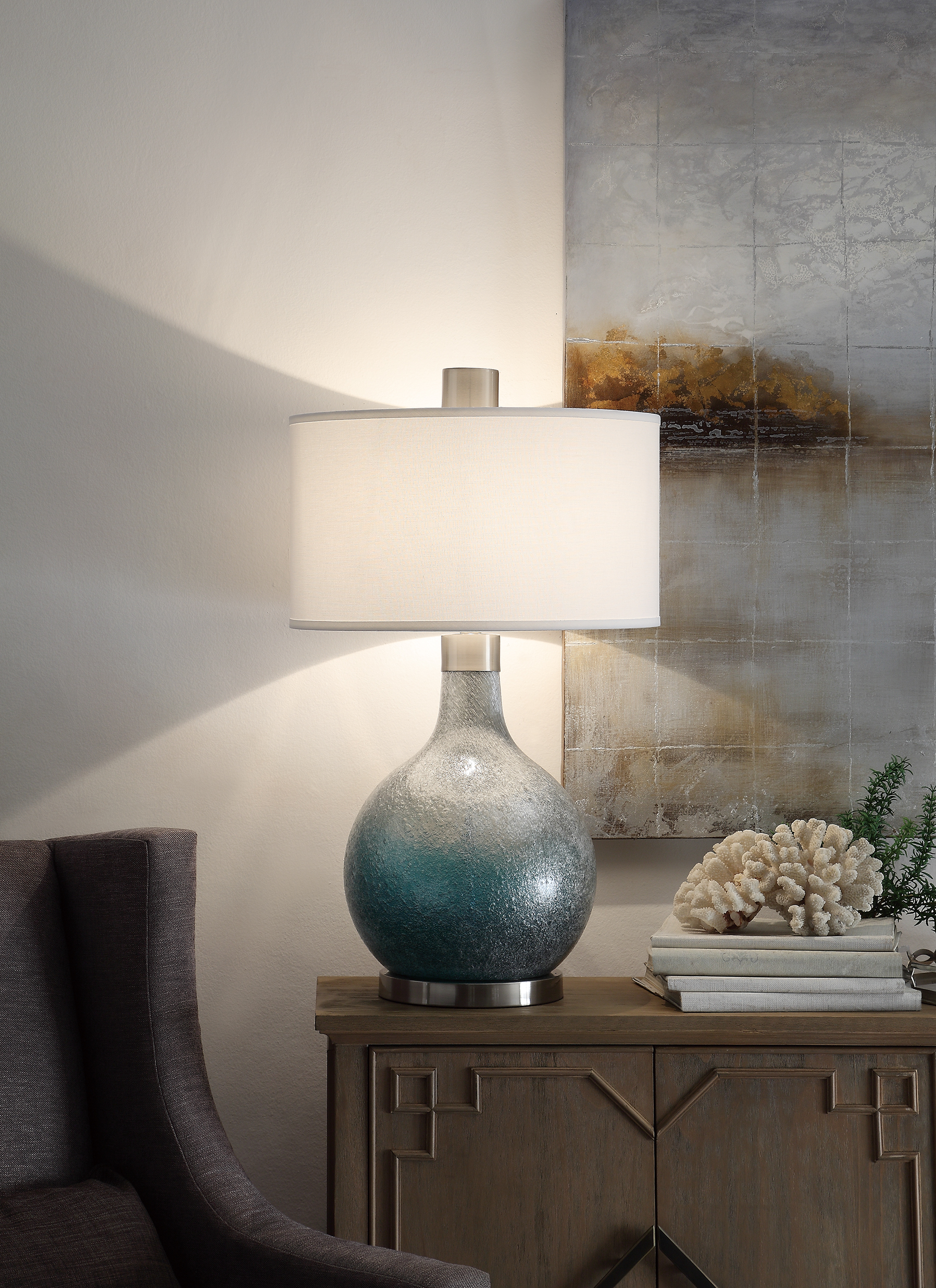 NEW Pair of Grey Textured Blown Glass Lamps
