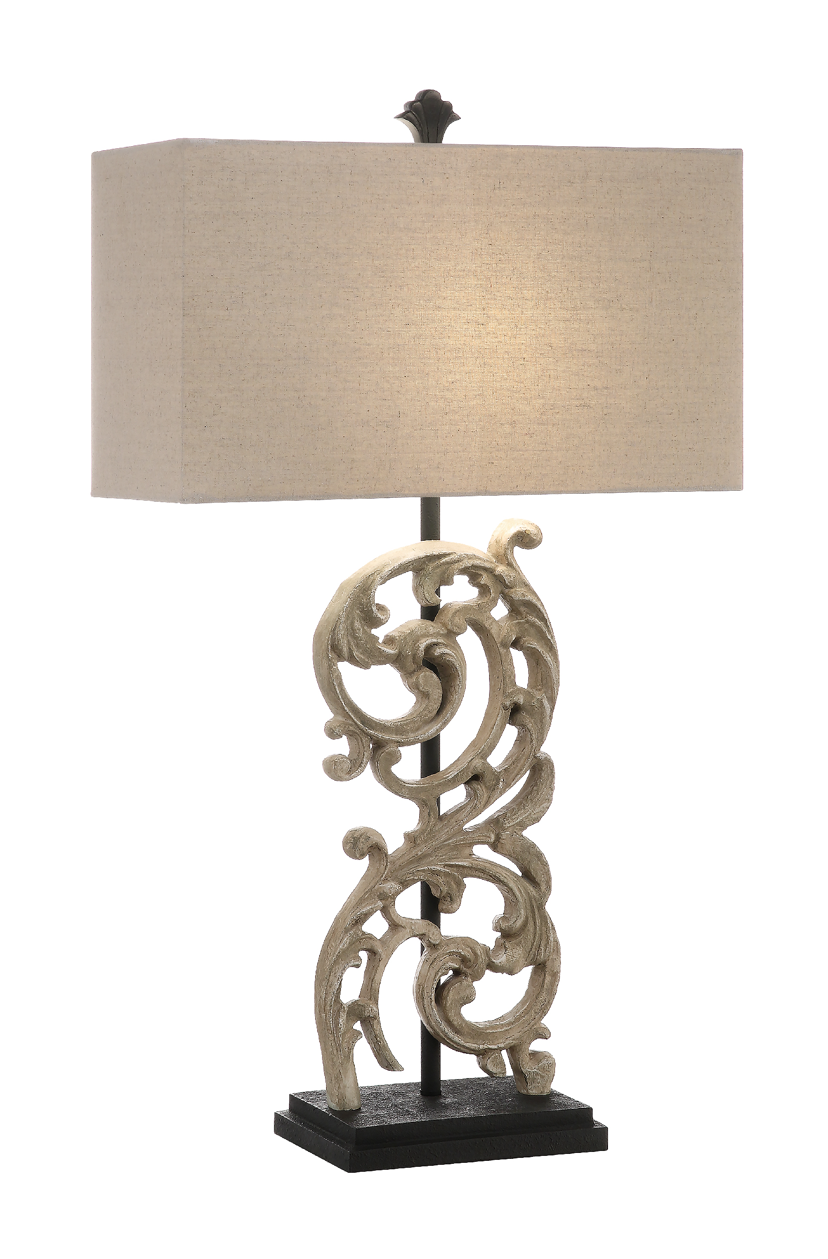 NEW Pair of Ivory Acanthus Leaf Lamps