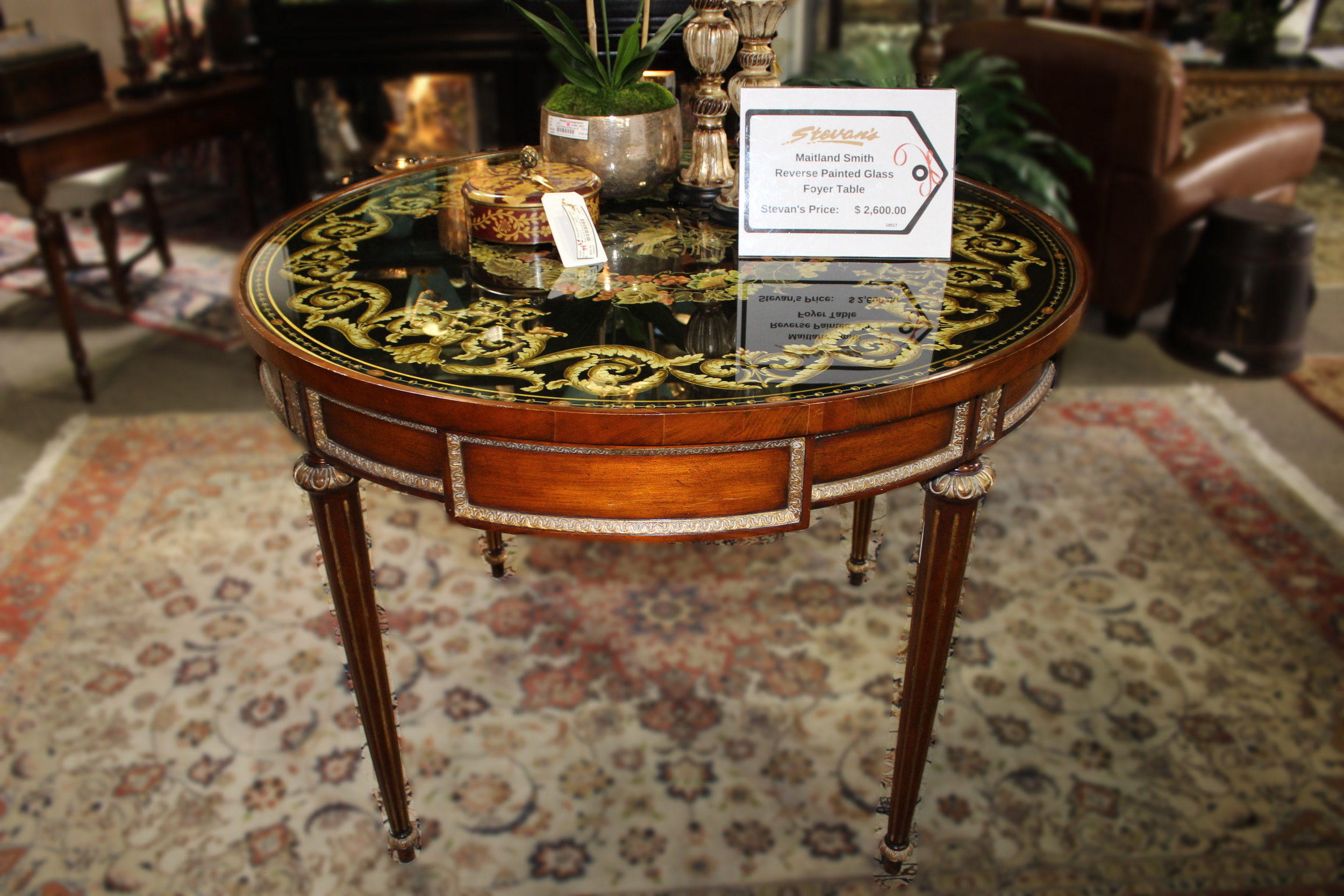 Maitland Smith Reverse Painted Glass Foyer Table