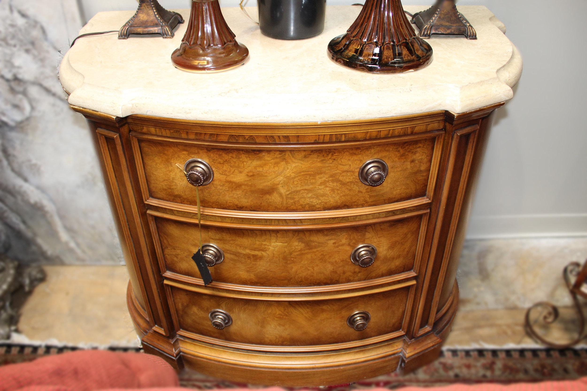 Henredon Stone Top 3 Drawer Nightstand