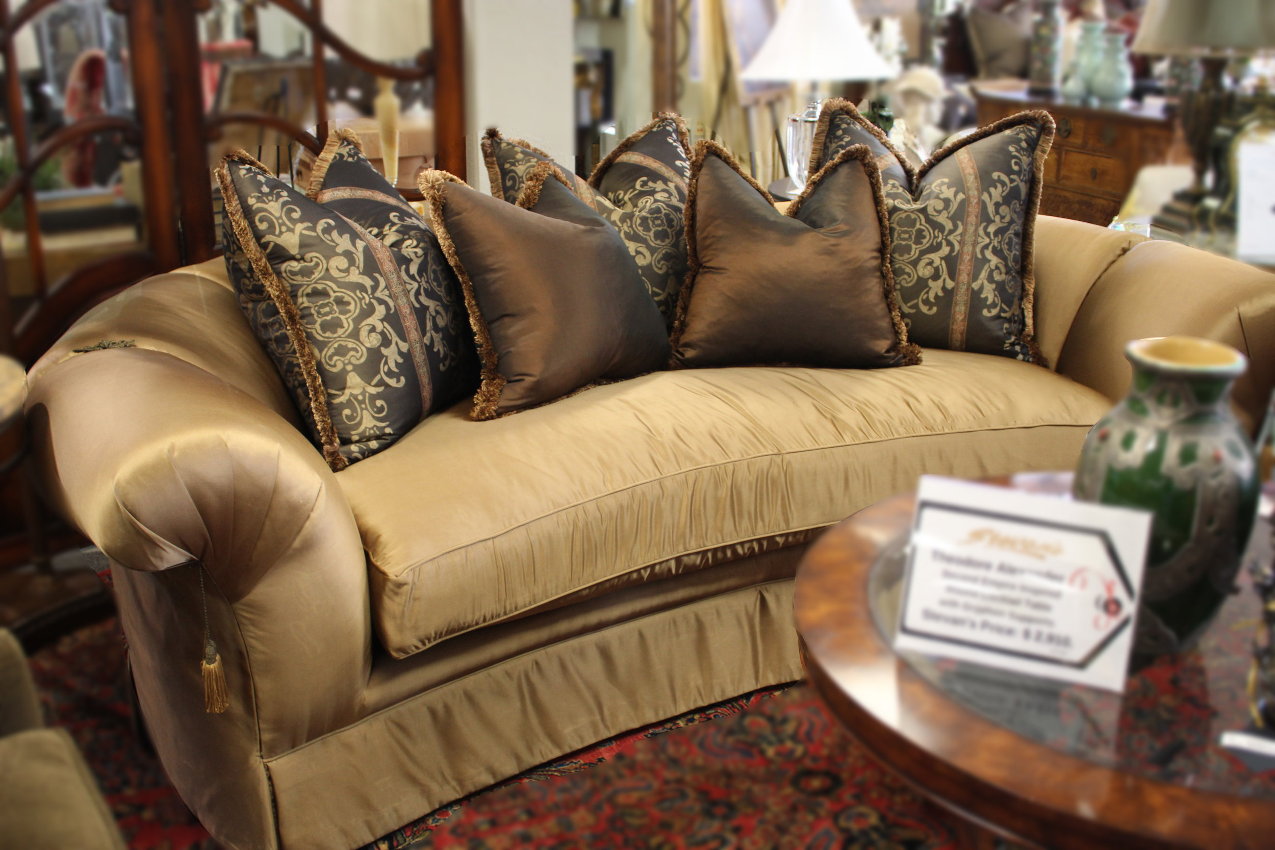 Marge Carson Curved Gold Pillow back Sofa