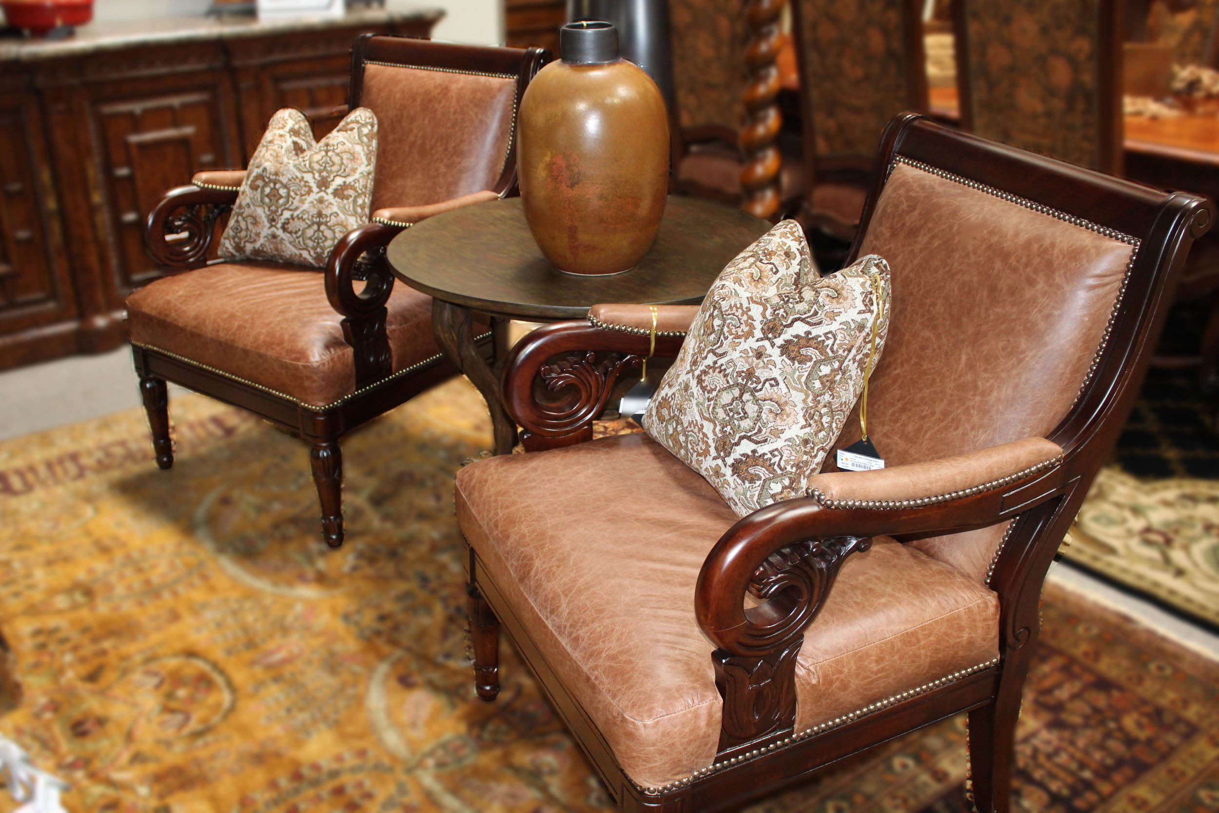 Pair of Wood Frame Leather Arm Chairs