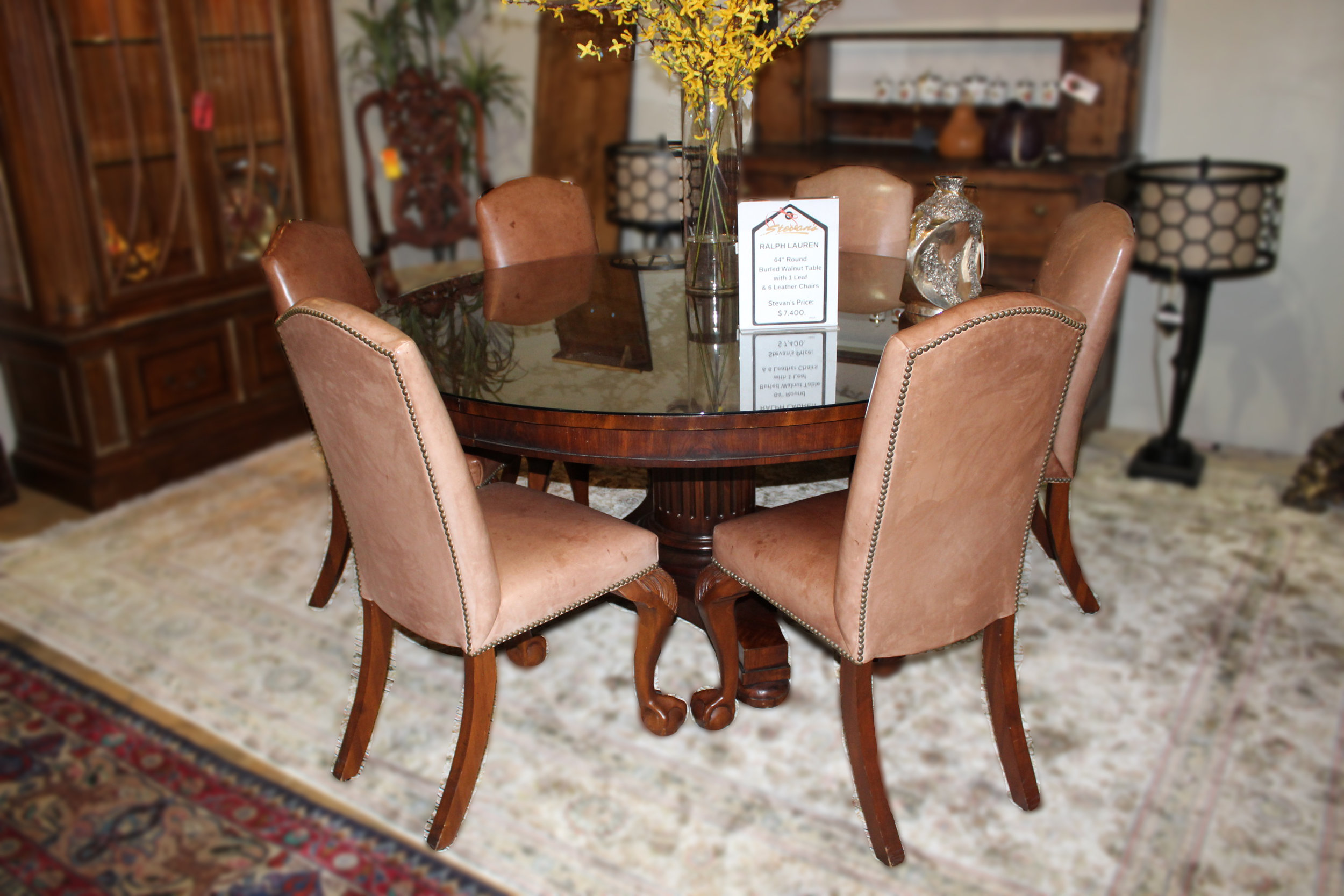 Ralph Lauren Round Burled Walnut Dining Table 1 Leaf & 6 Leather Chairs