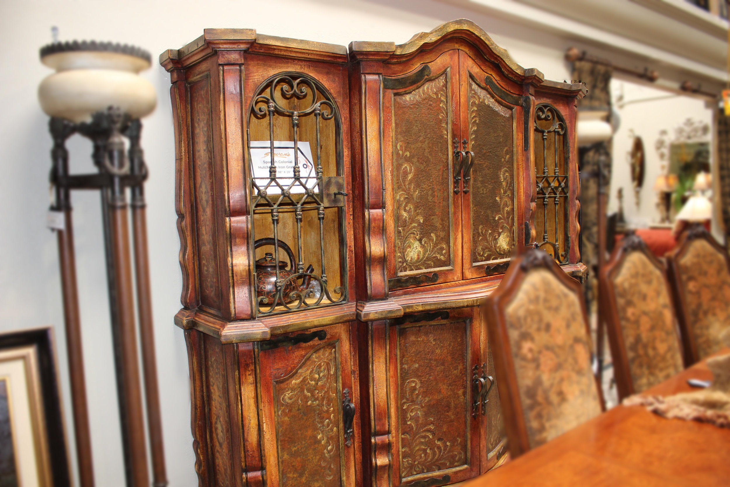 Spanish Colonial Hutch with Iron Grating