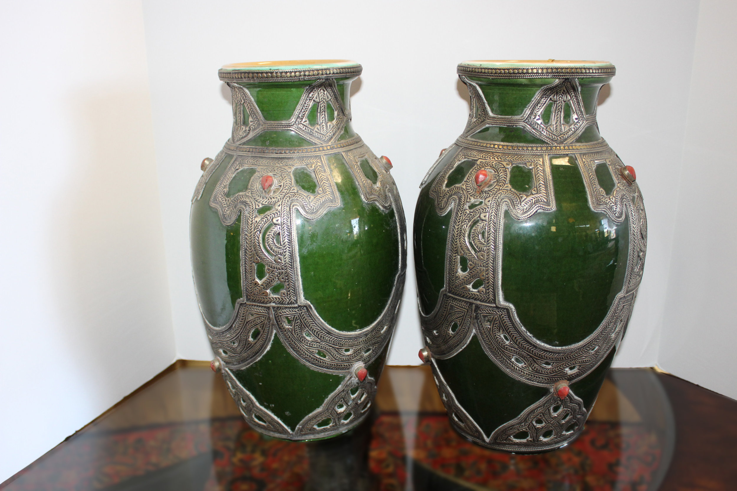 Pair of Green Vases with Metal