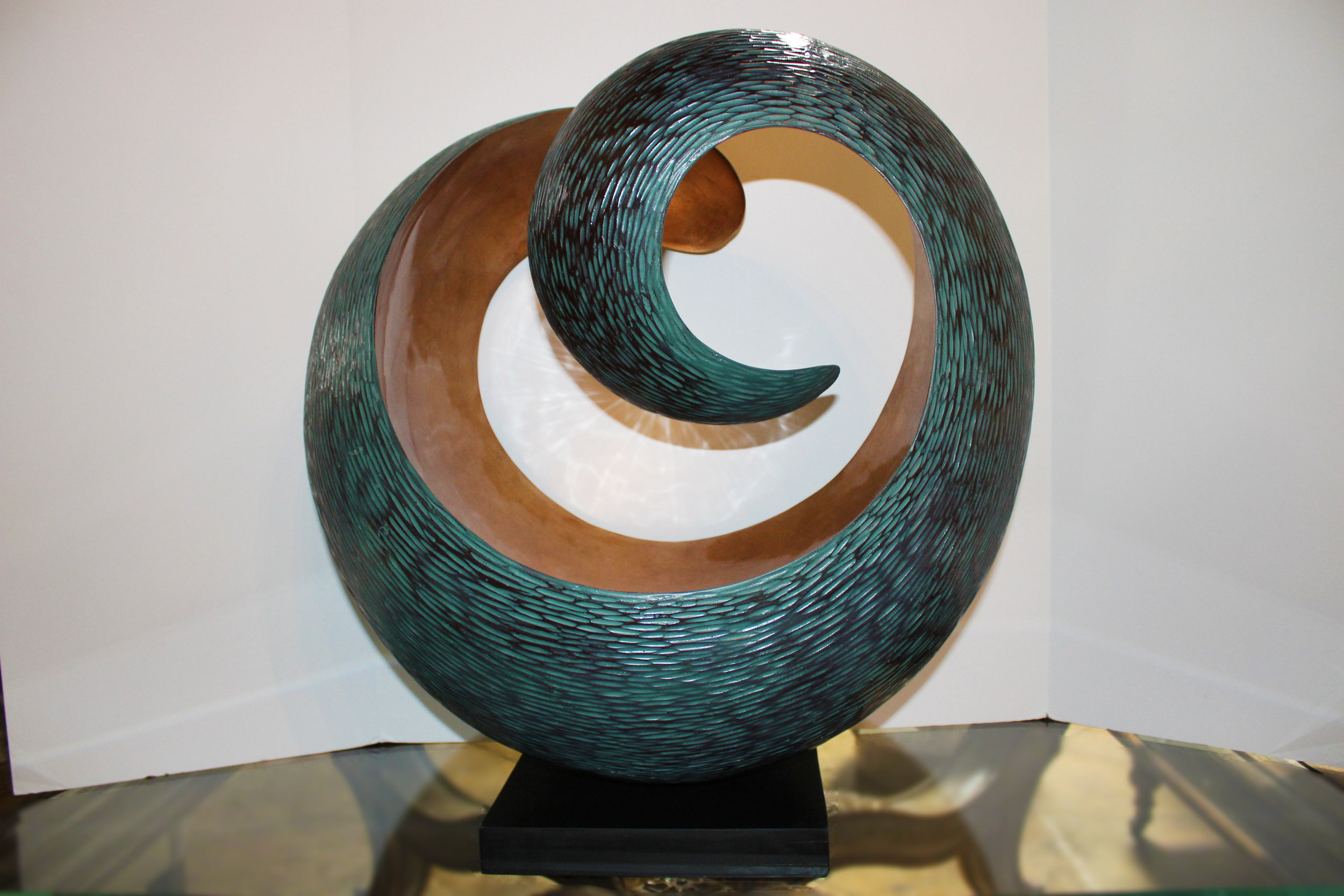 Blue & Copper Whoosh Sculpture