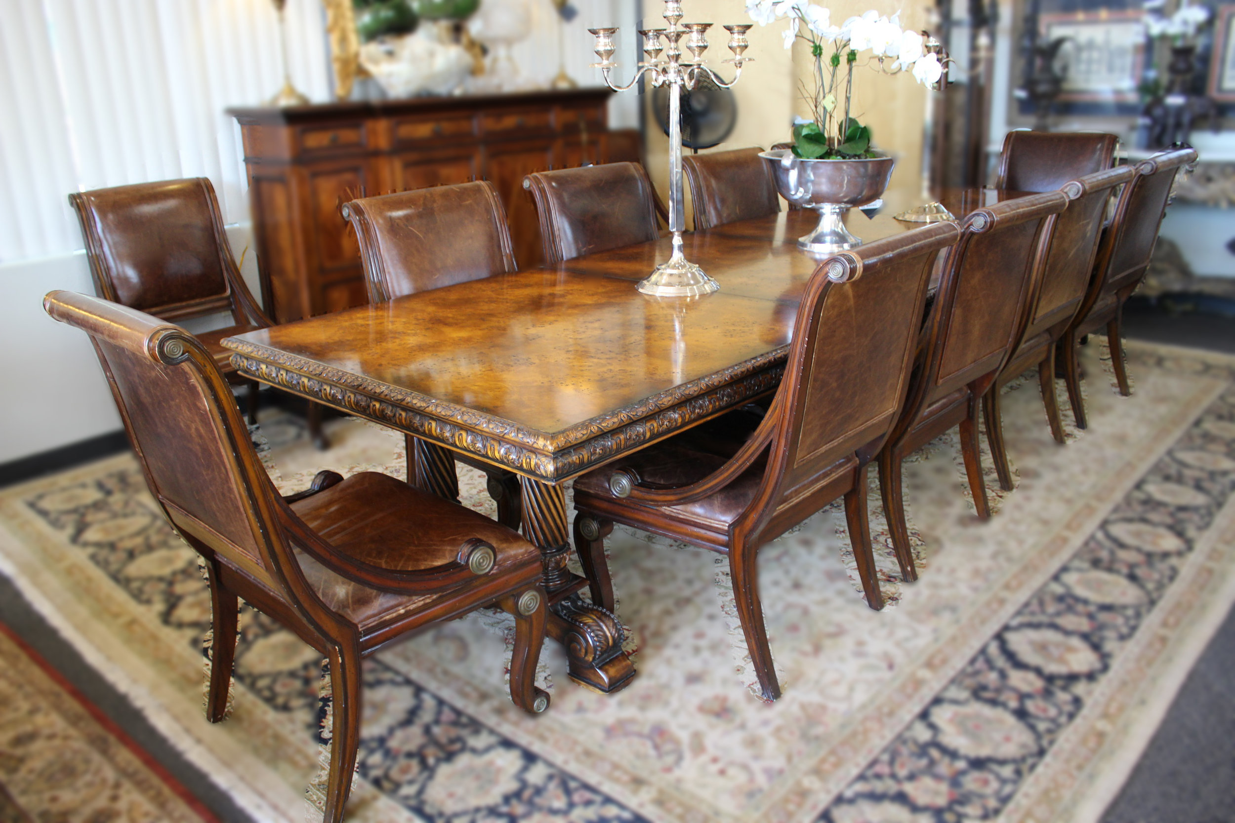 Maitland Smith Burled Dining Table with 12 Chairs & 4 Leaves