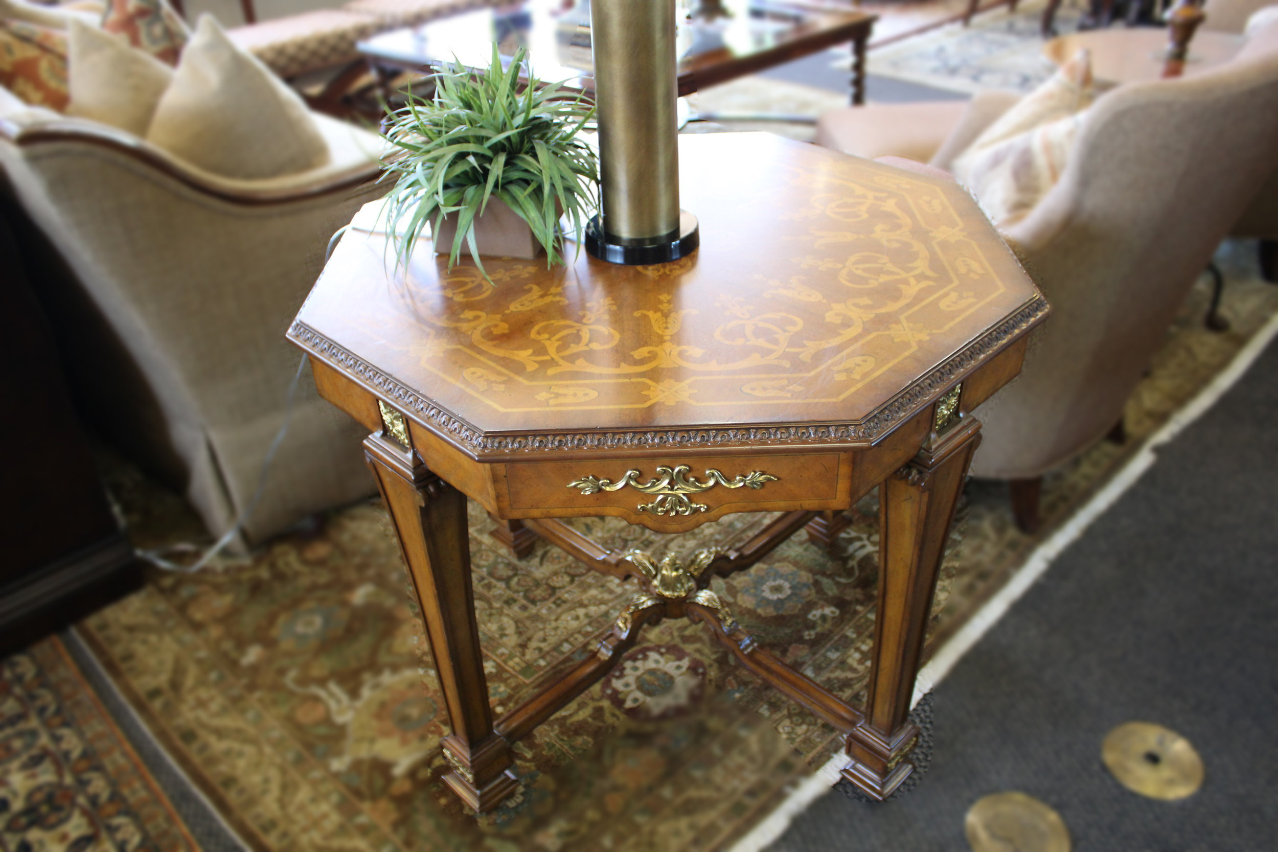 Maitland Smith Octagon Brass Accent Table