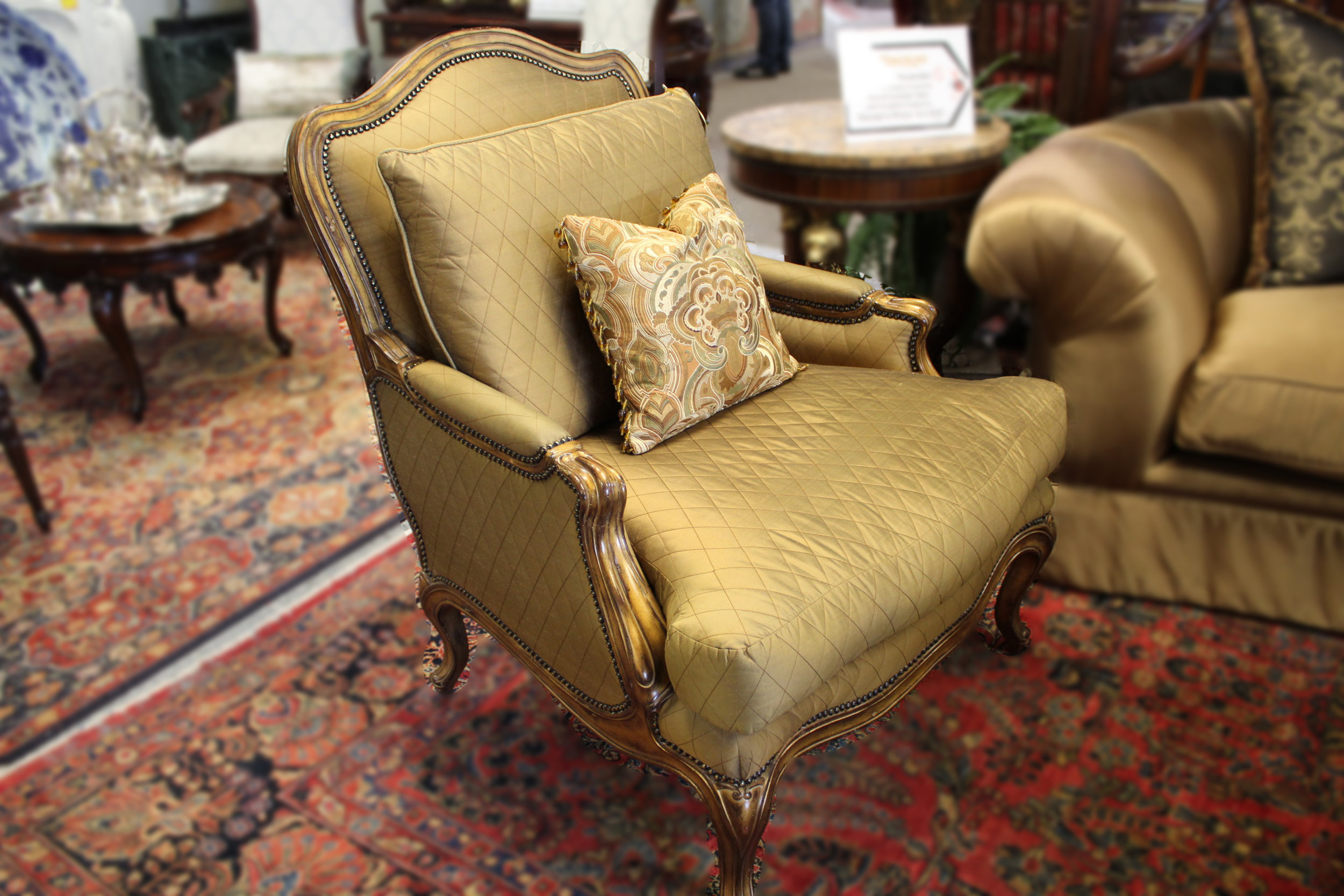Marge Carson Gold Quilted Arm Chair