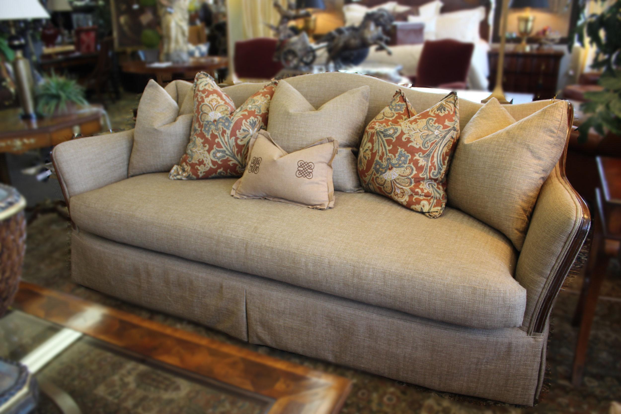 Marge Carson Tan Basket Woven Sofa