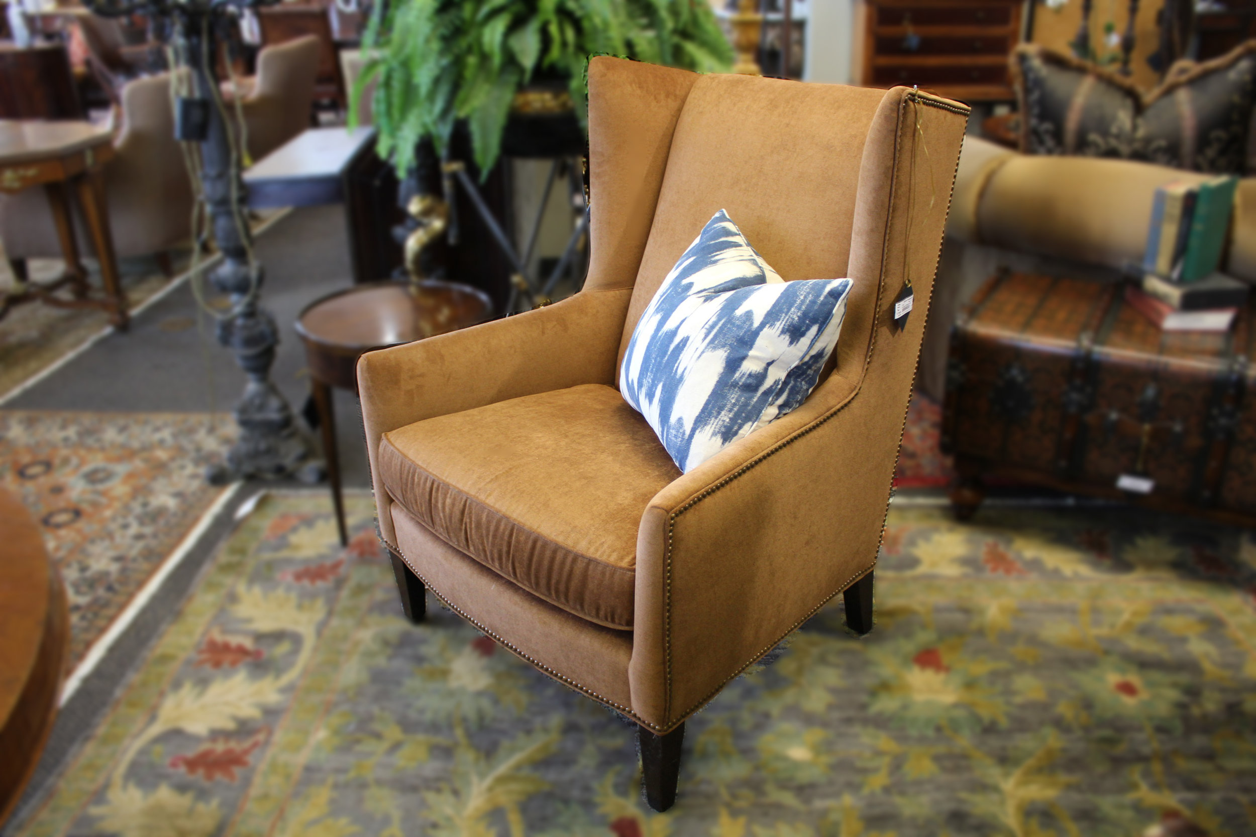 Pair of Copper Wingback Chairs