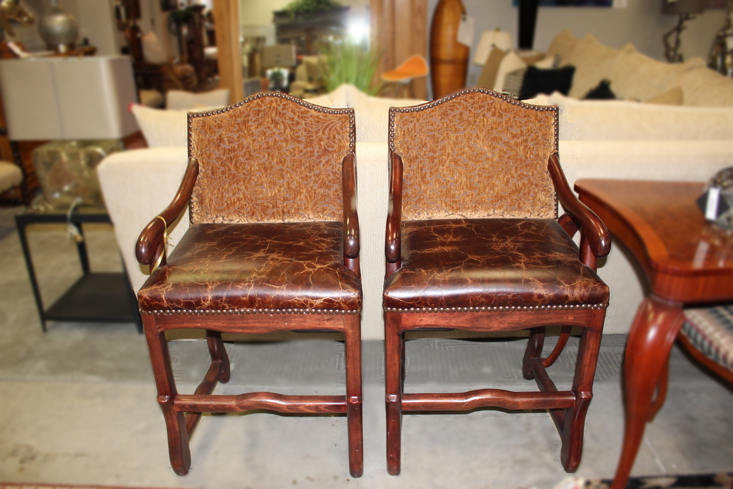 Pair of Distressed Leather Barstools