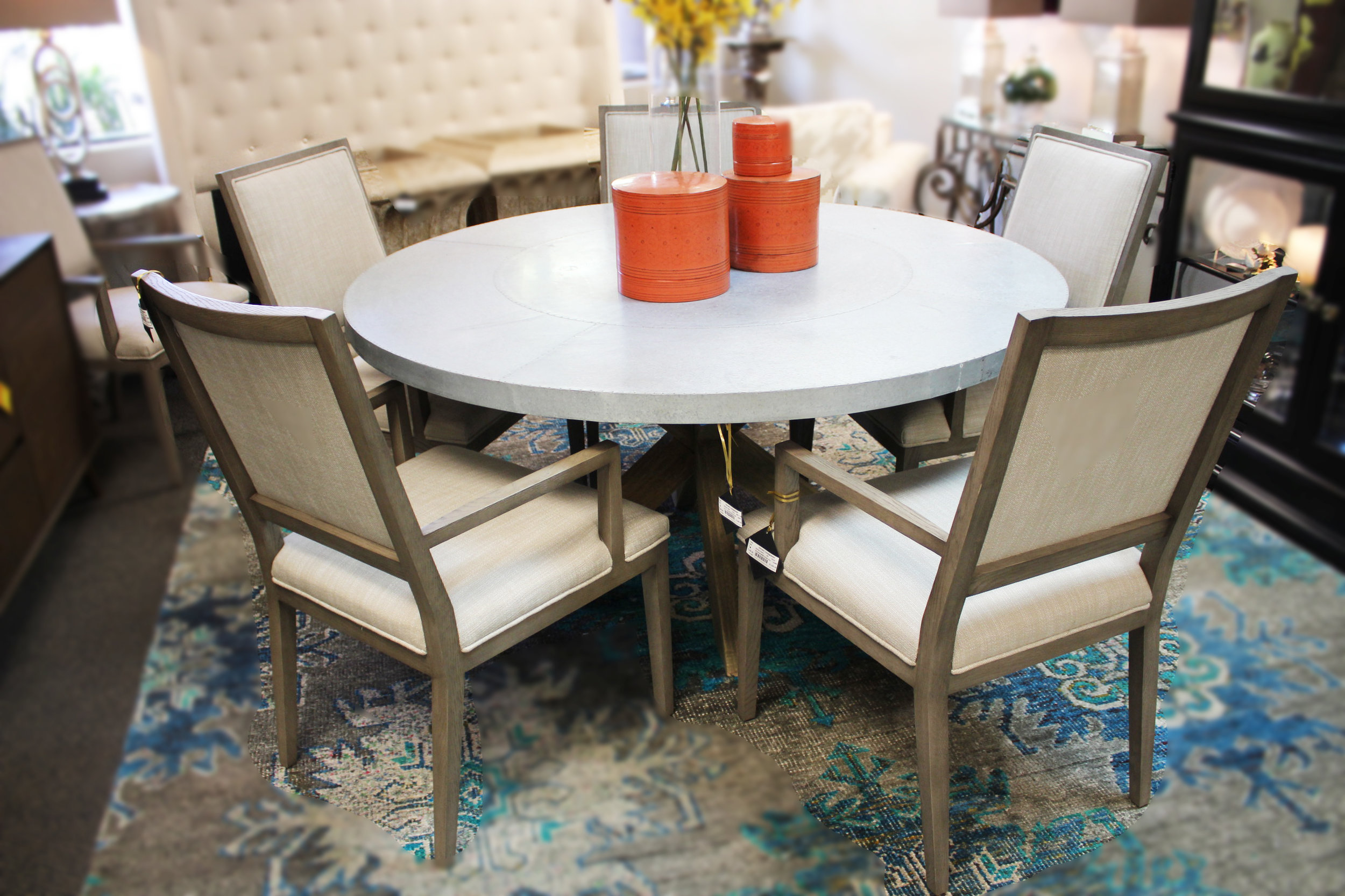 Zinc Top Round Dining Table  & Set of 6 Restoration Hardware Arm Chairs