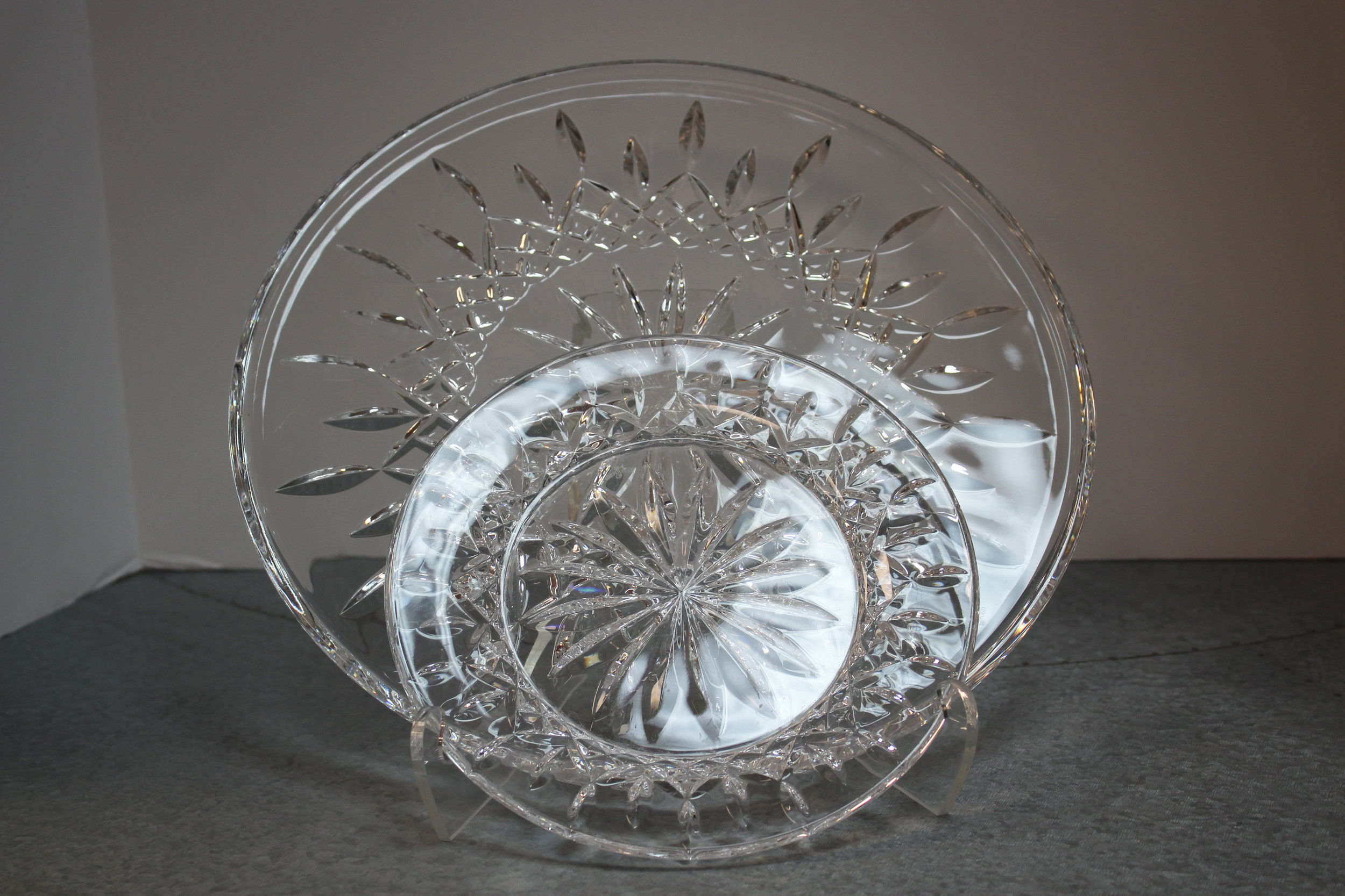 Set of 9 Waterford Lismore 8 Dessert & 1 Cake Plate