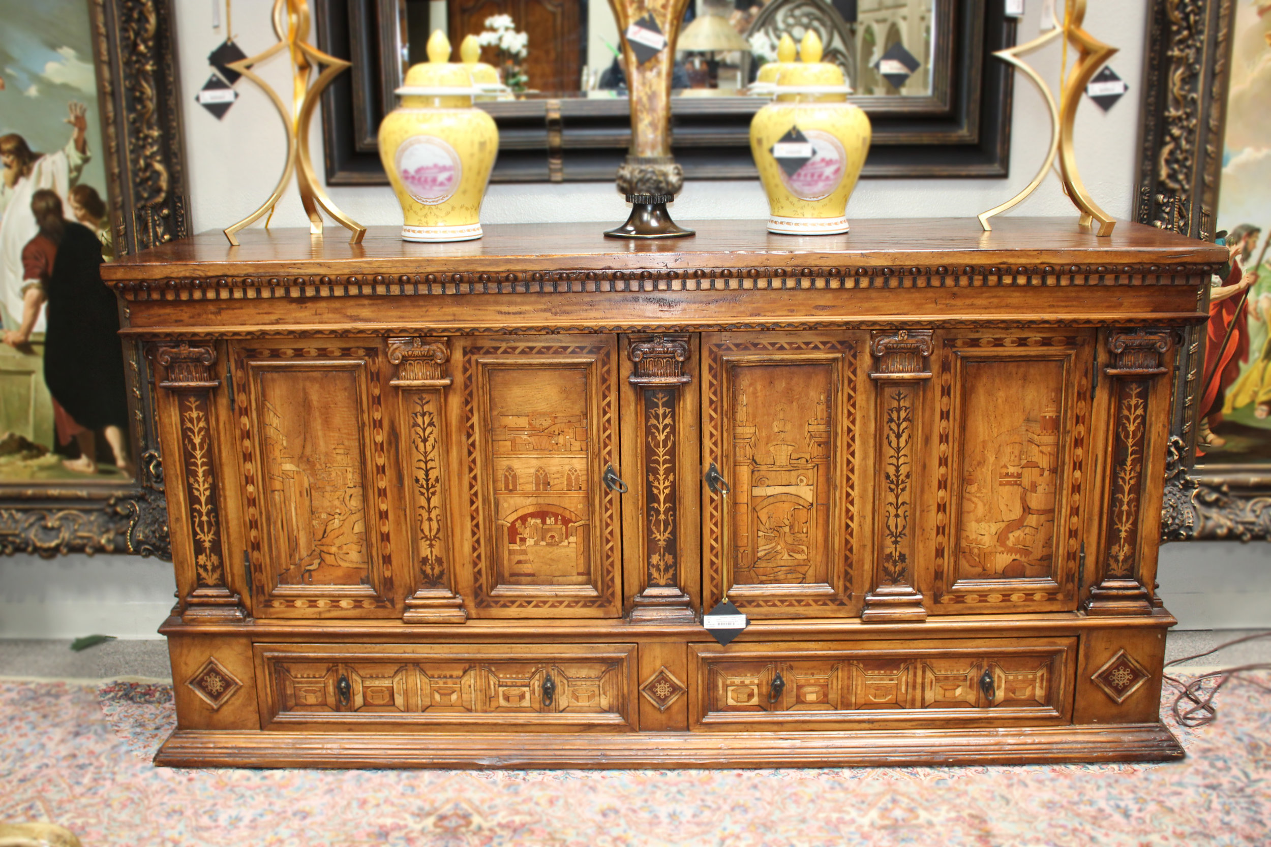 Carved Wood Inlaid Buffet