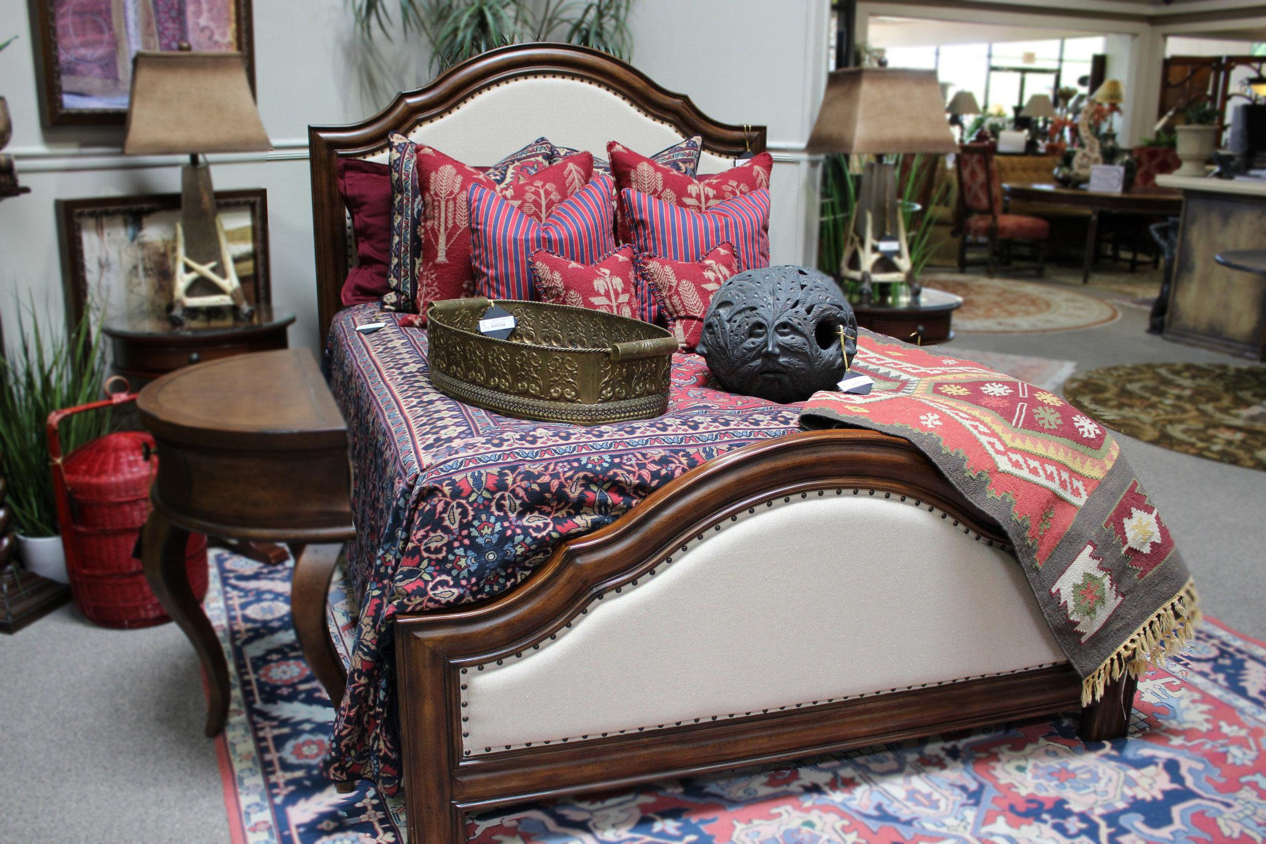 Hooker Queen Linen Bed with Nailheads
