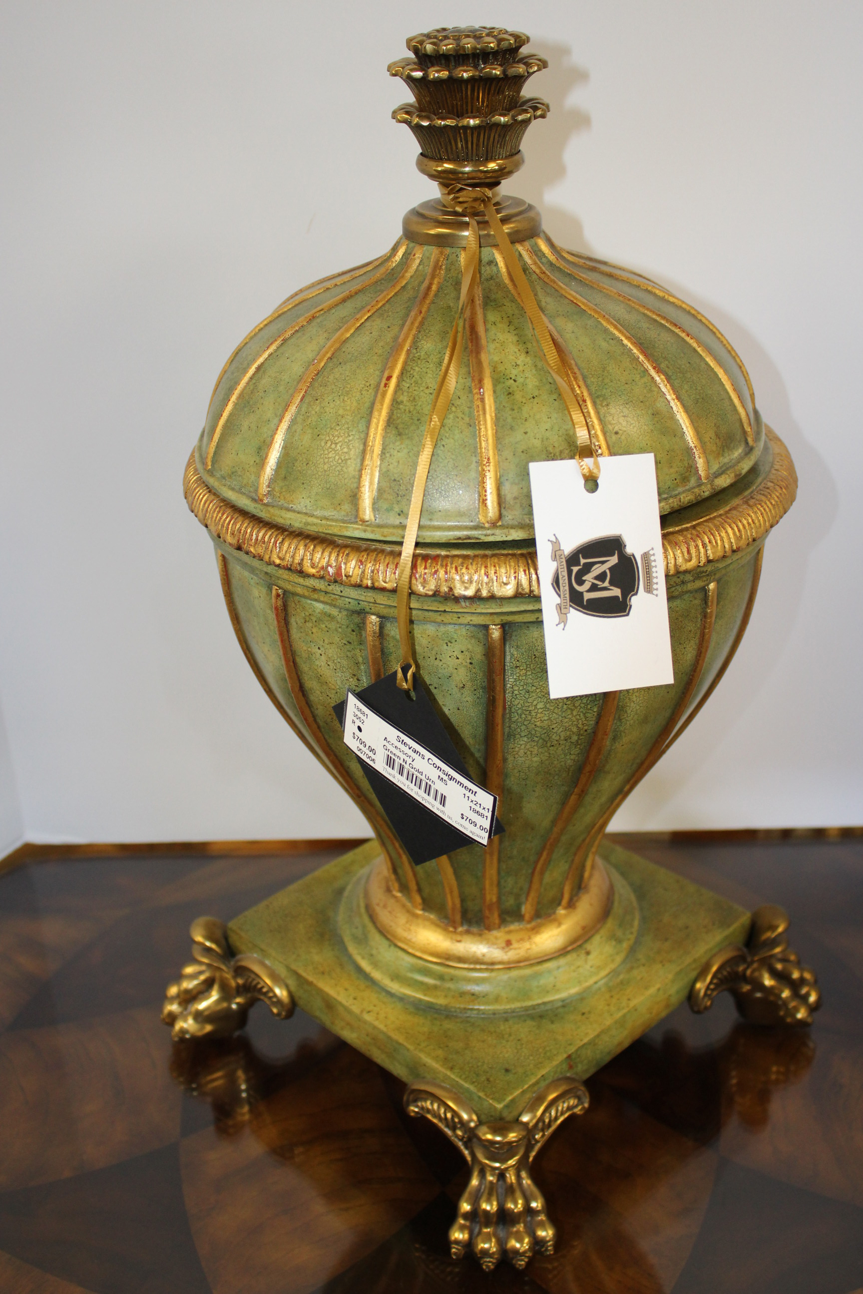 Maitland Smith Green & Gold Urn
